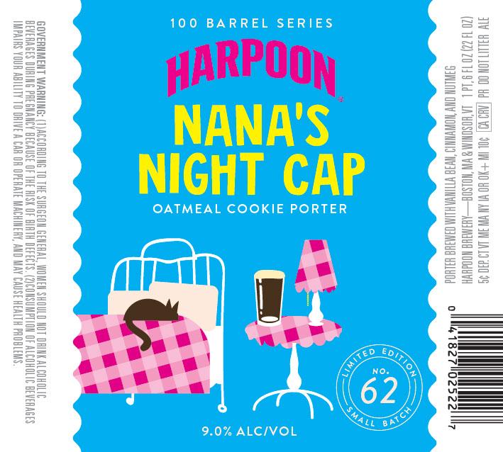 "Harpoon 100 Barrel Series ""Nana's Night Cap"" label design. Photo courtesy of Harpoon Brewery"