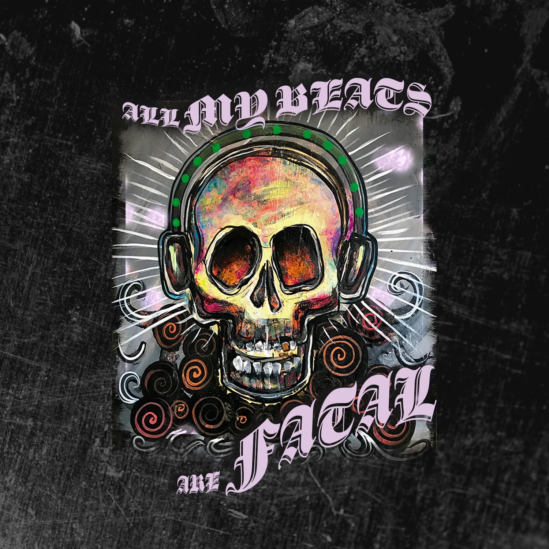 "J. Wakefield Brewing ""All My Beats Are Fatal"" label design development"