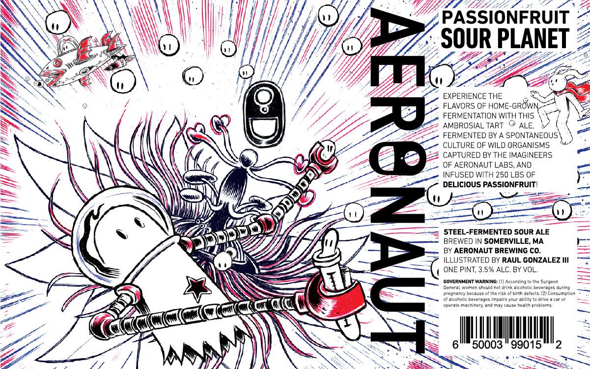 """""""Passionfruit Sour Planet"""" label design by Raúl Gonzalez III and Aeronaut Brewing"""