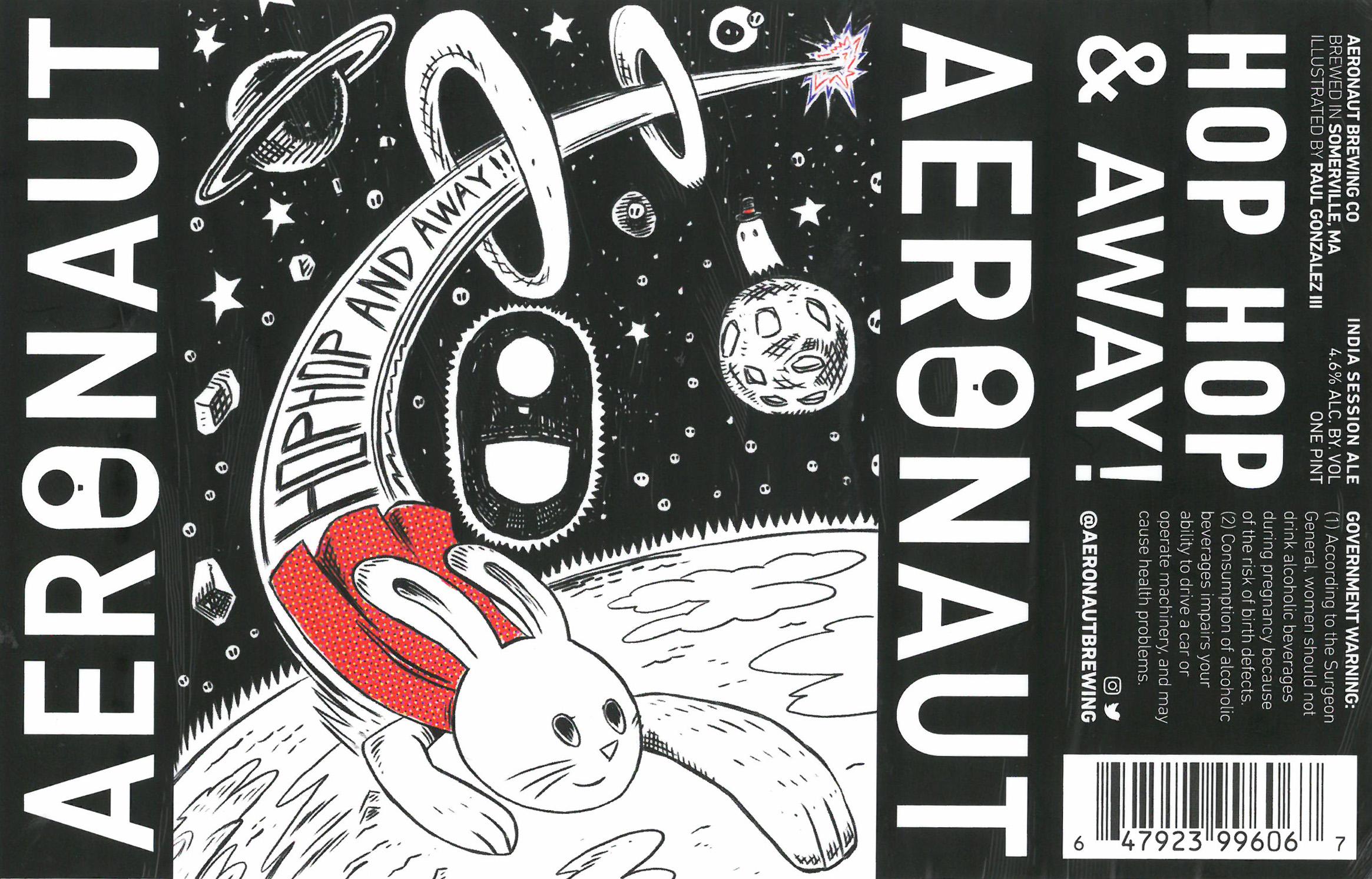 """Hop Hop & Away!"" label design by Raúl Gonzalez III and Aeronaut Brewing"