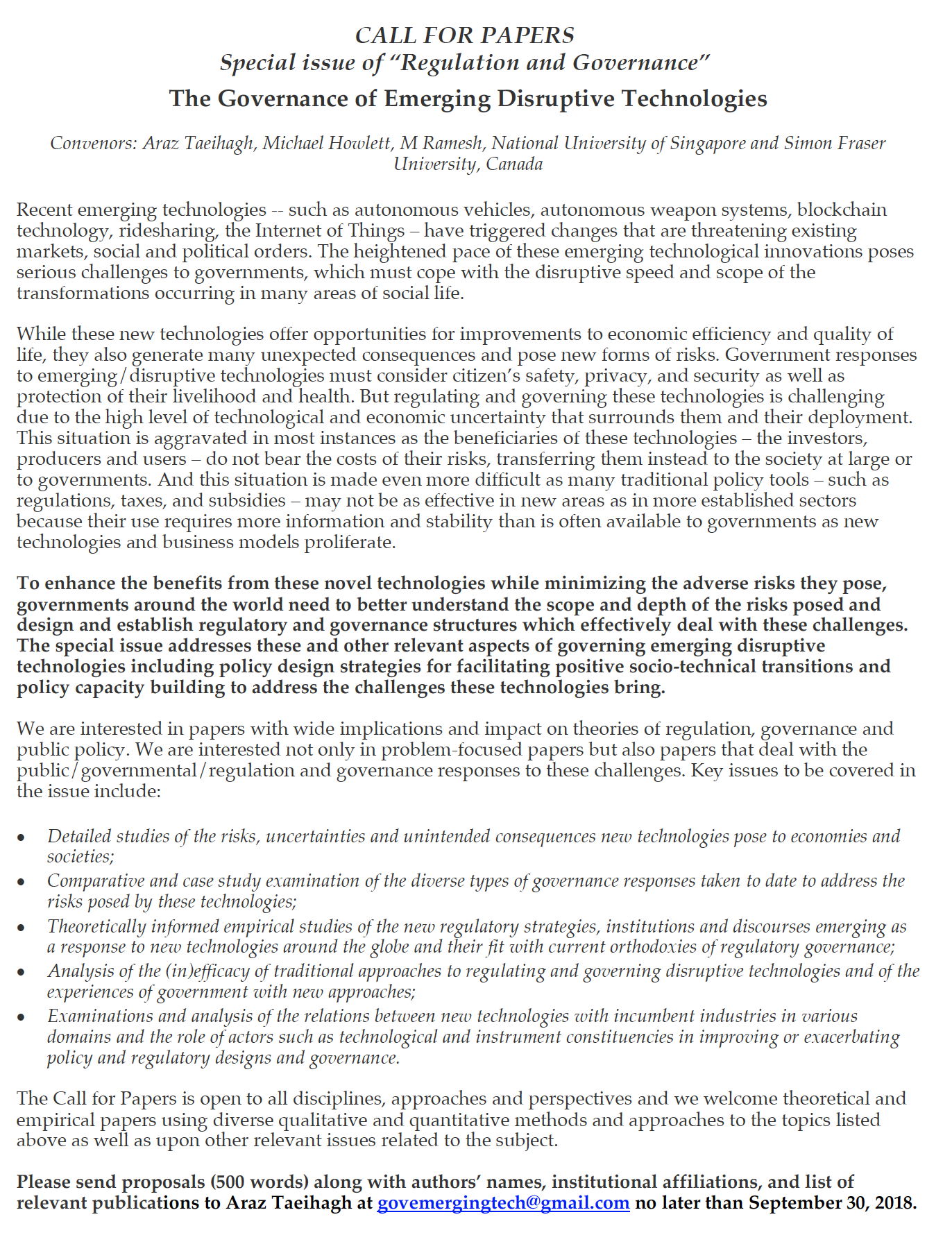 call for papers regulation and governance The Governance of Emerging Disruptive Technologies.png