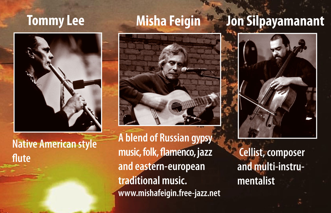 Sundown Soul - July, 2017Songs of Air & Earth, Between Breath & Strings with Tommy Lee, Misha Feigin and Jon Silpayamant