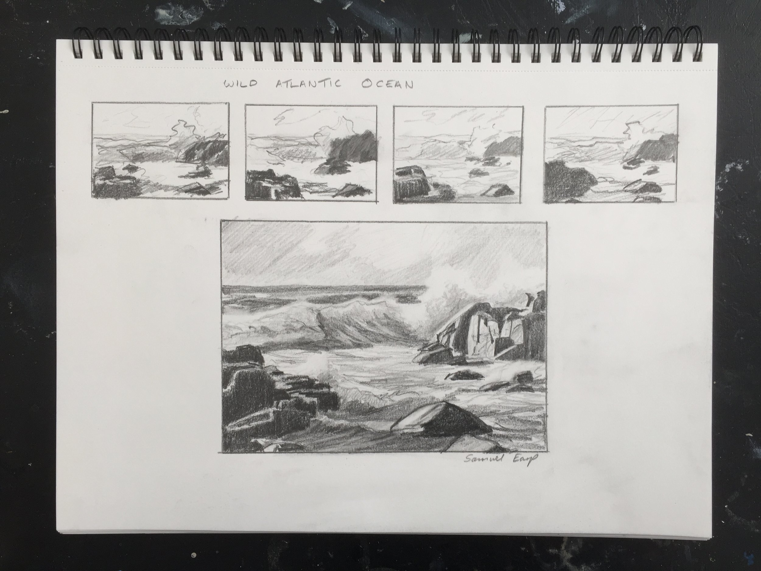 Wild Atlantic Ocean - pencil sketch - Samuel Earp.JPG