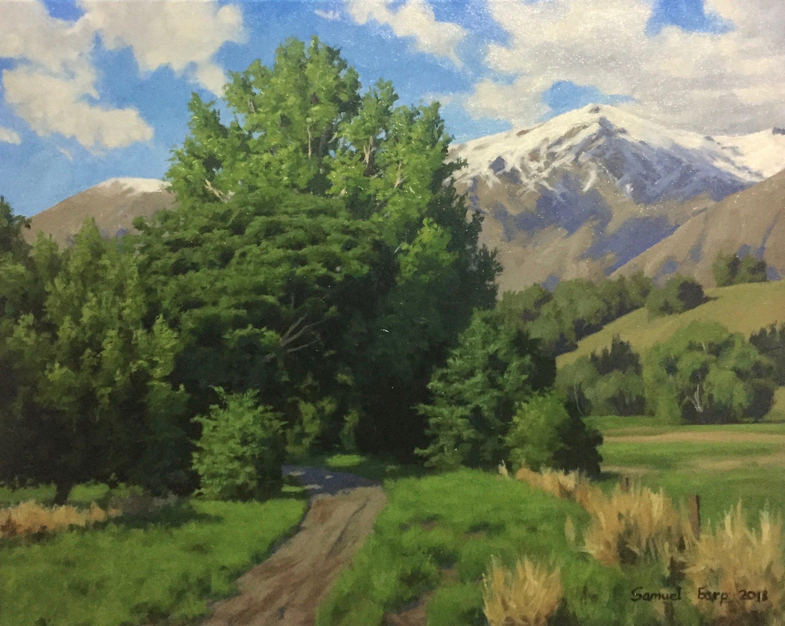 Poplar Trees and the Remarkables Mountains - oil painting - landscape - Samuel Earp - New Zealand landscape artist.jpg