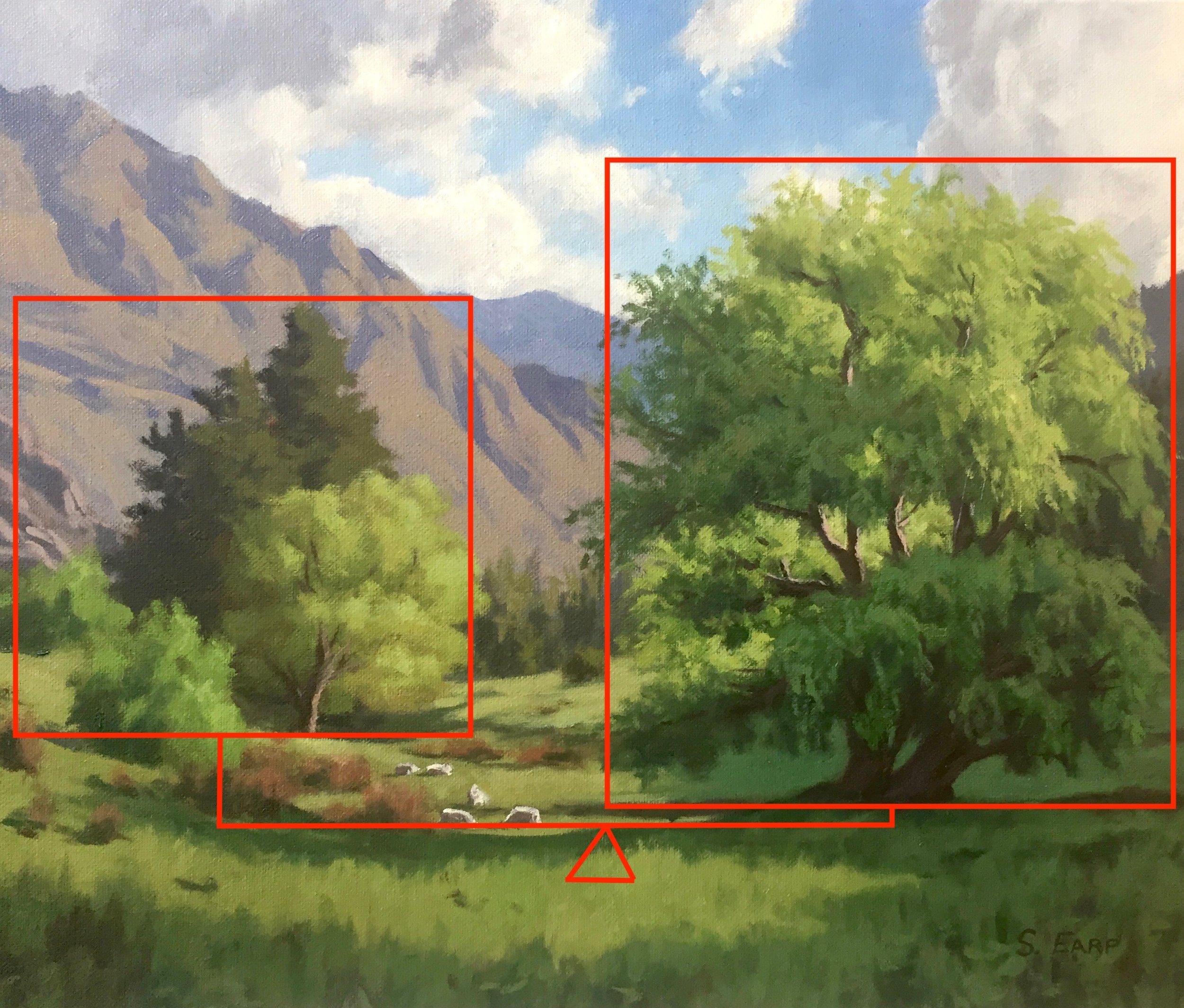 Willow Trees and Light - Samuel Earp - oil painting - composition 3.jpg