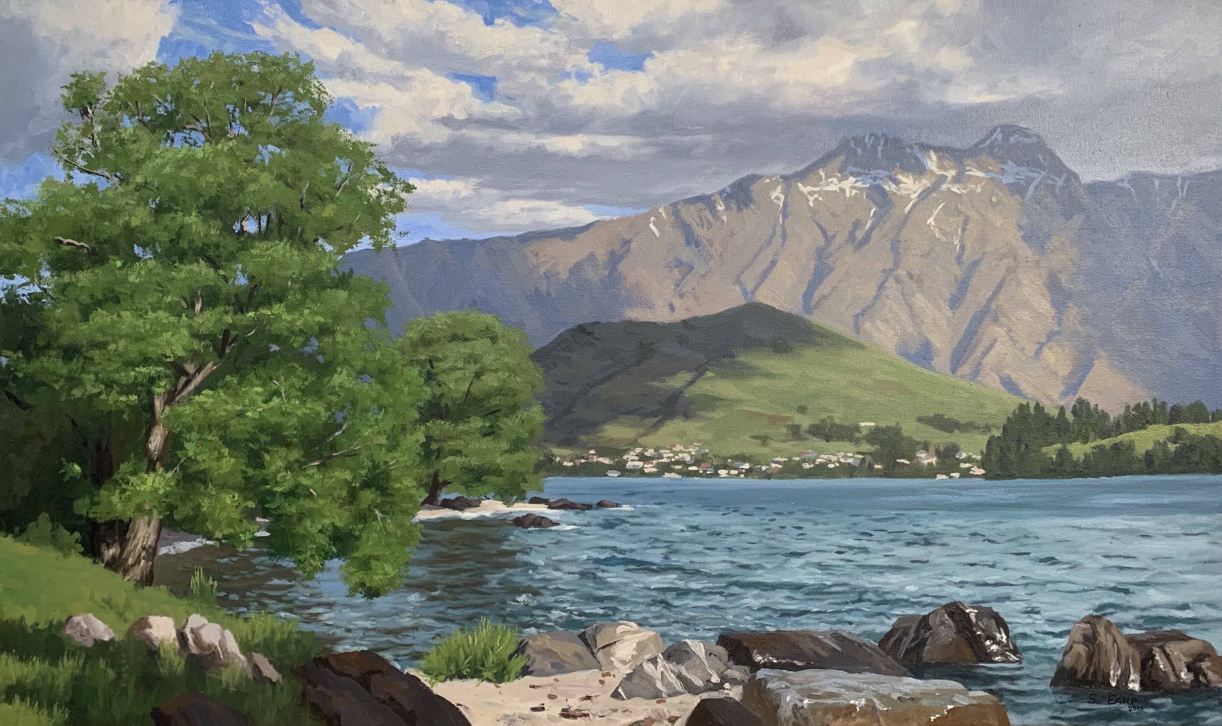 Lake Wakatipu New Zealand - Samuel Earp landscape artist - oil painting.jpg