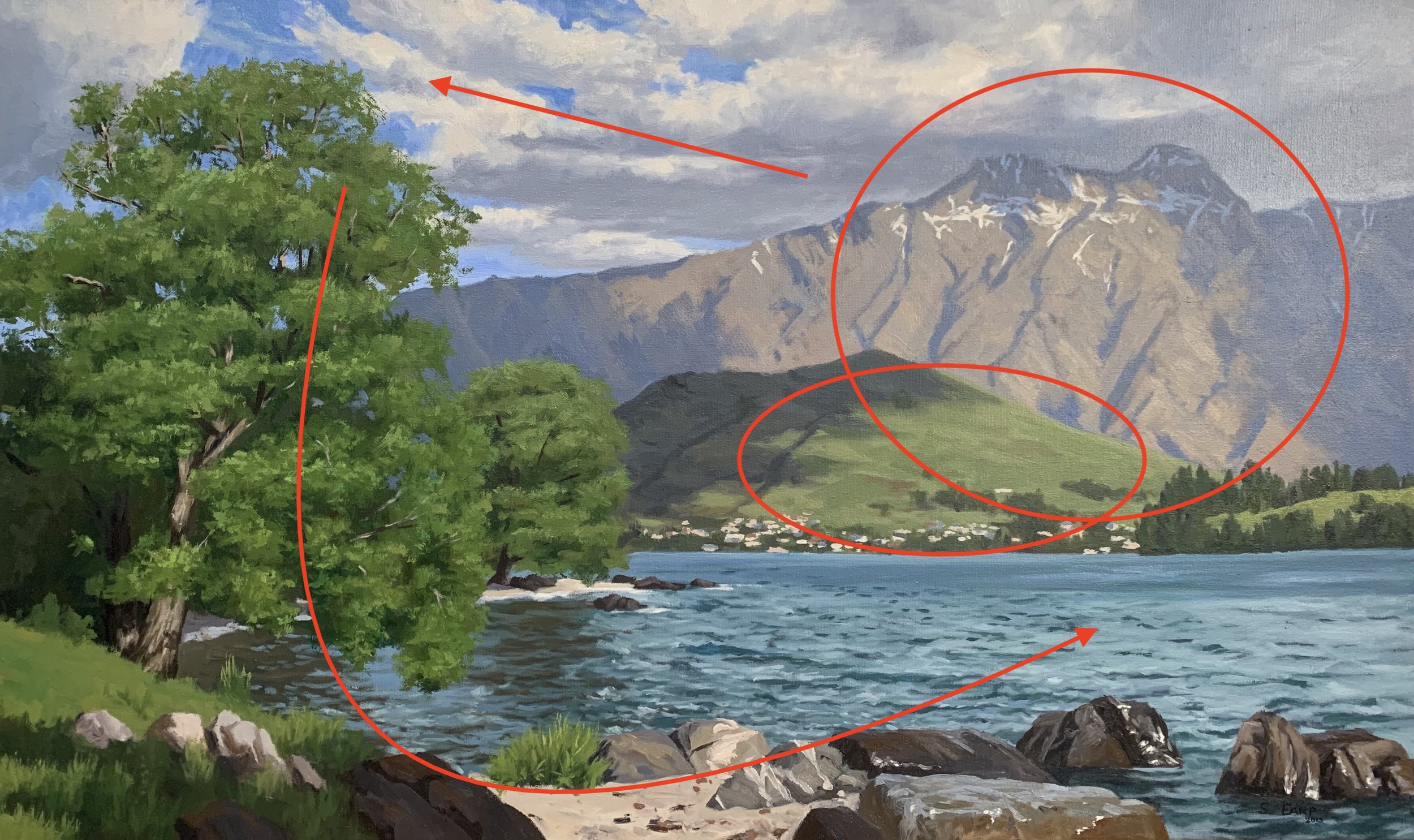 Lake Wakatipu New Zealand - Samuel Earp landscape artist - composition 3.jpg