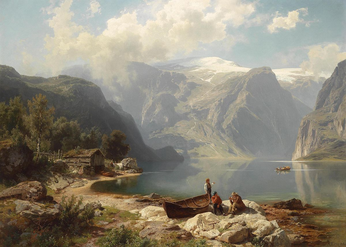A Sunny day on a Norwegian Fjord' by August Wilhelm Leu (1862)