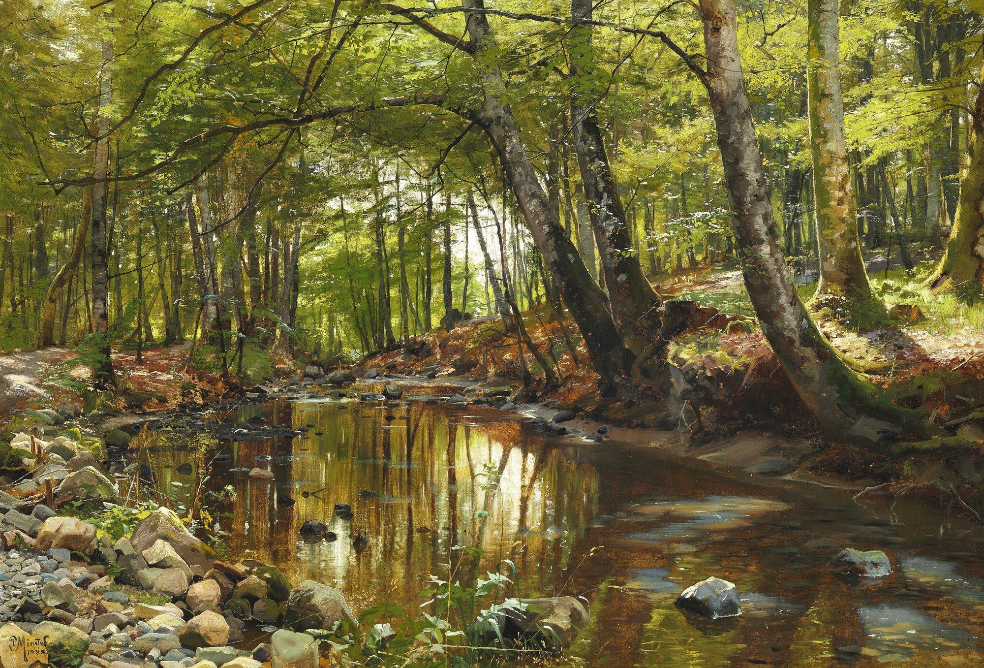 'A Spring Day in a Forest Stream' by Peder Mørk Mønsted, 1888