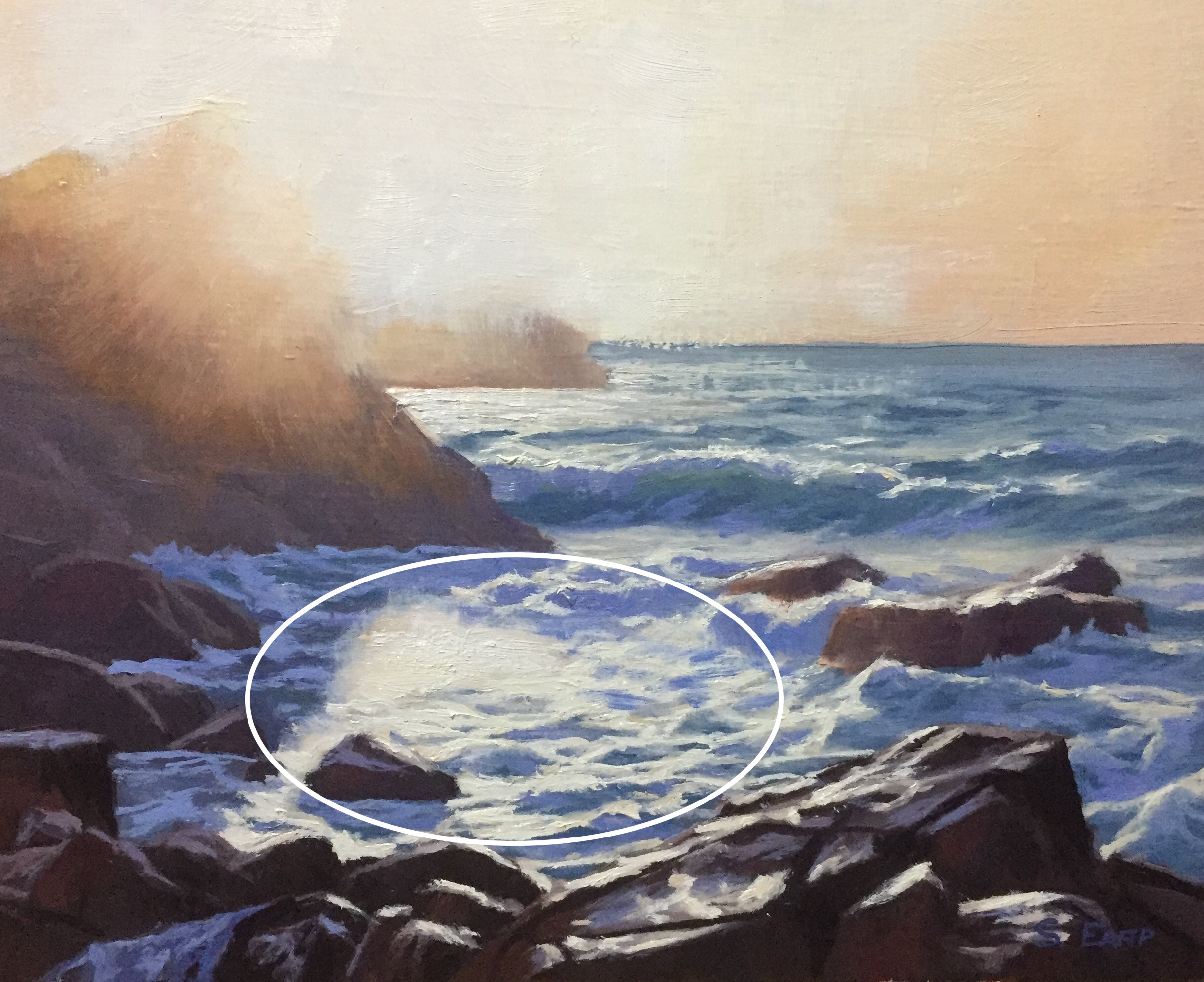 Circle or O composition - Sunset Guernsey - oil painting - seascape - Samuel Earp copy.jpg