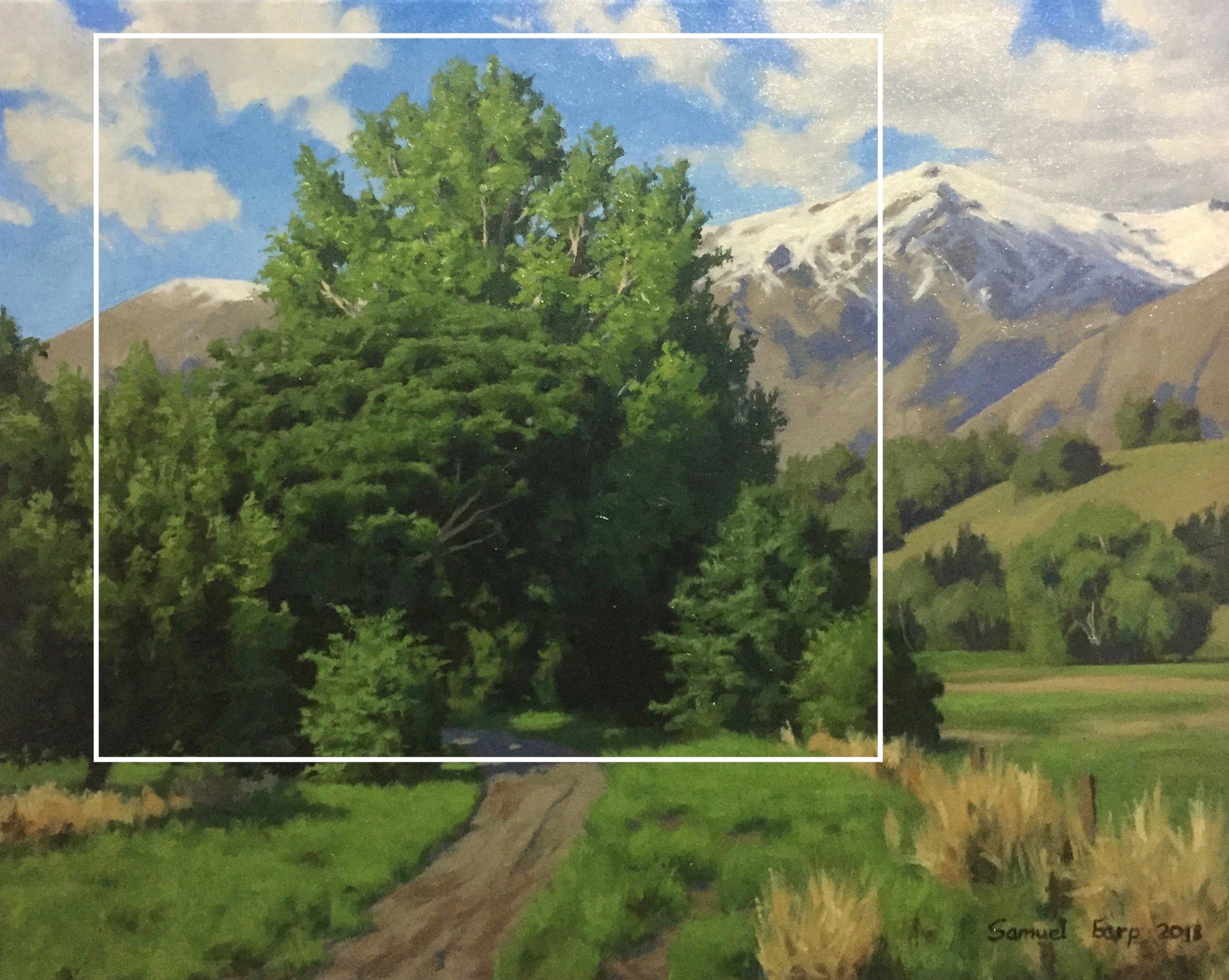 Poplar Trees and the Remarkables Mountains - oil painting - landscape - Samuel Earp - New Zealand landscape artist copy.jpg