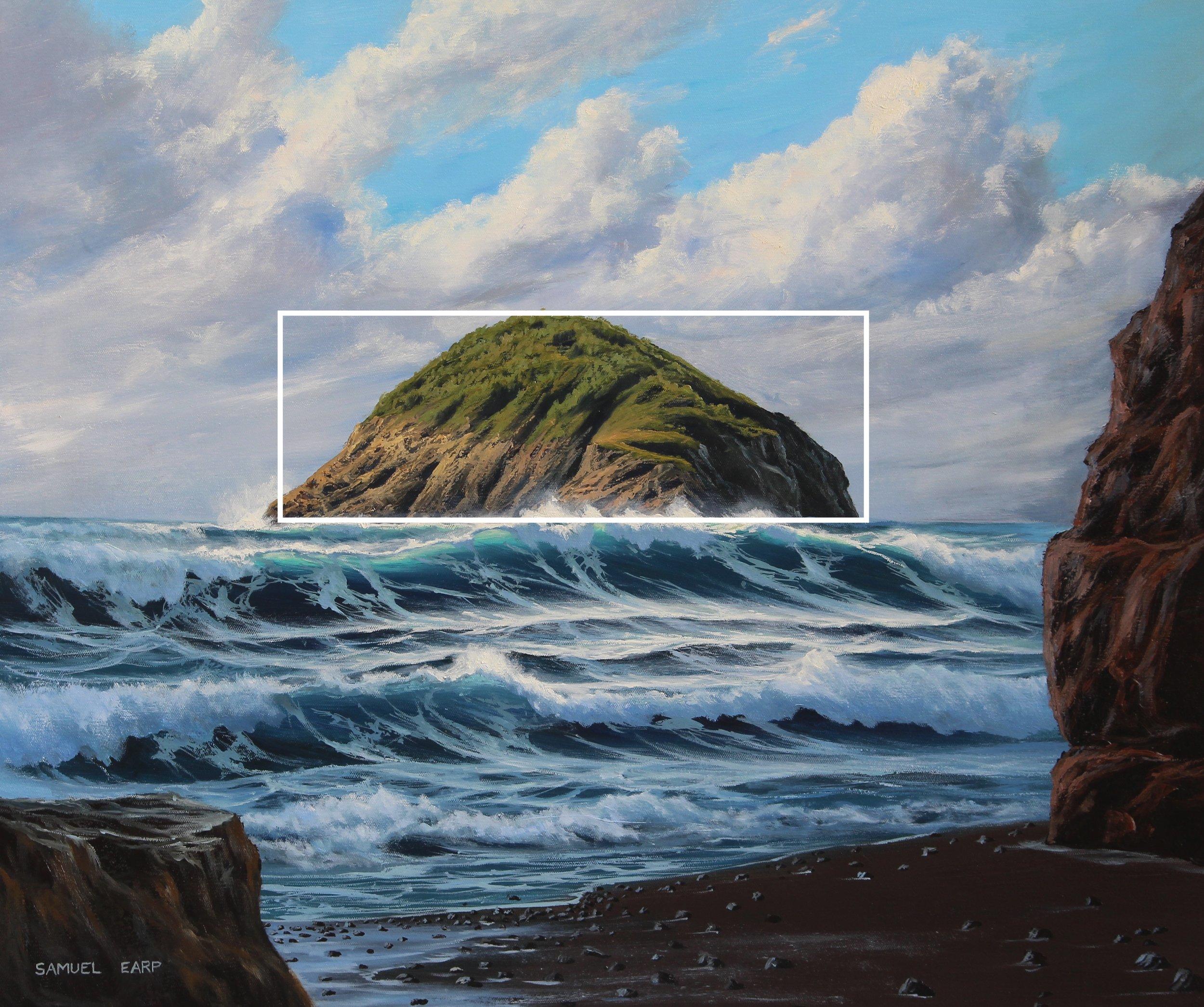Motuotamatea Island - seascape painting - oil painting copy.JPG