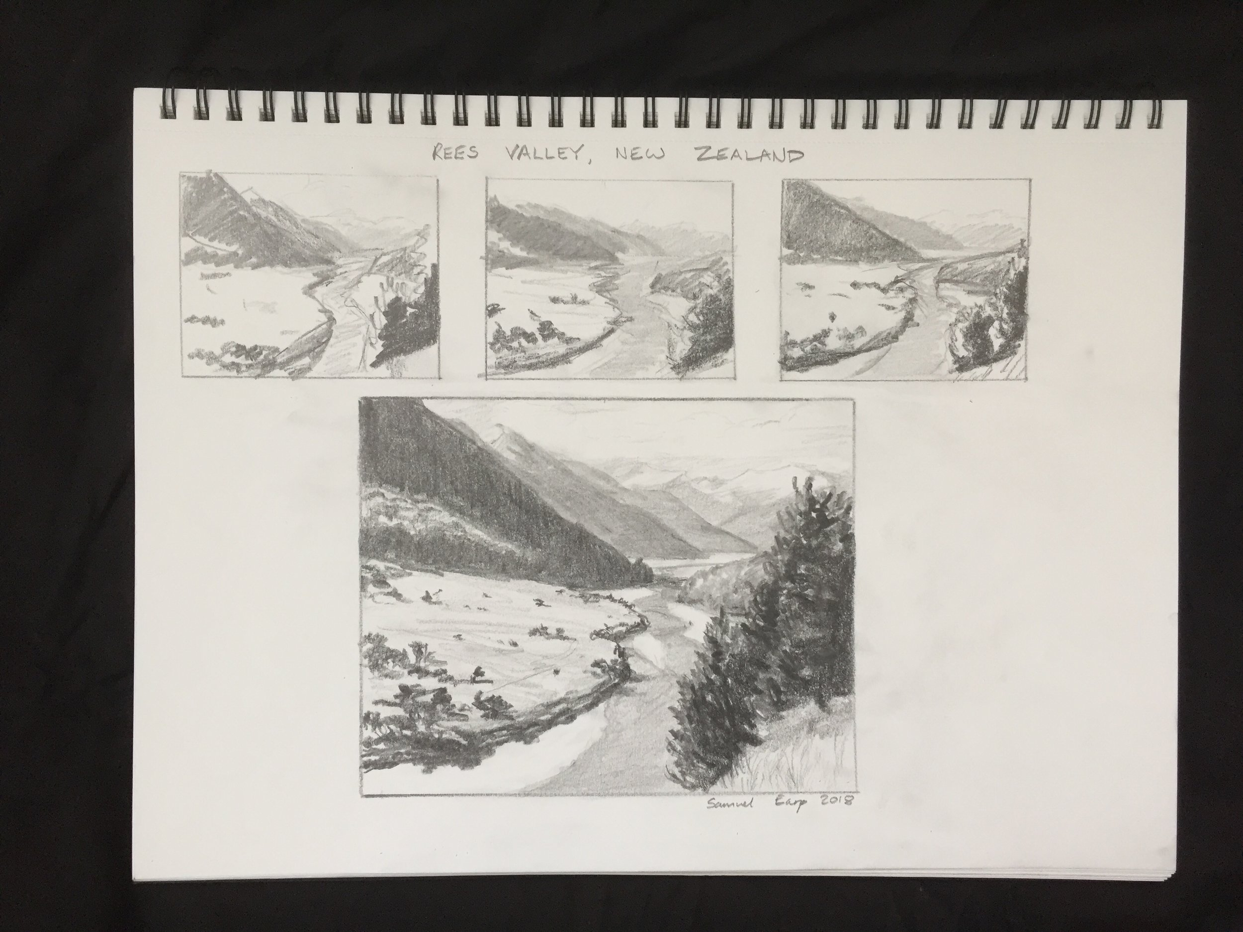 I use hard pencils to achieve the lighter values for the distant mountains. For the dark shadows in the foreground I use a soft 4B pencil.