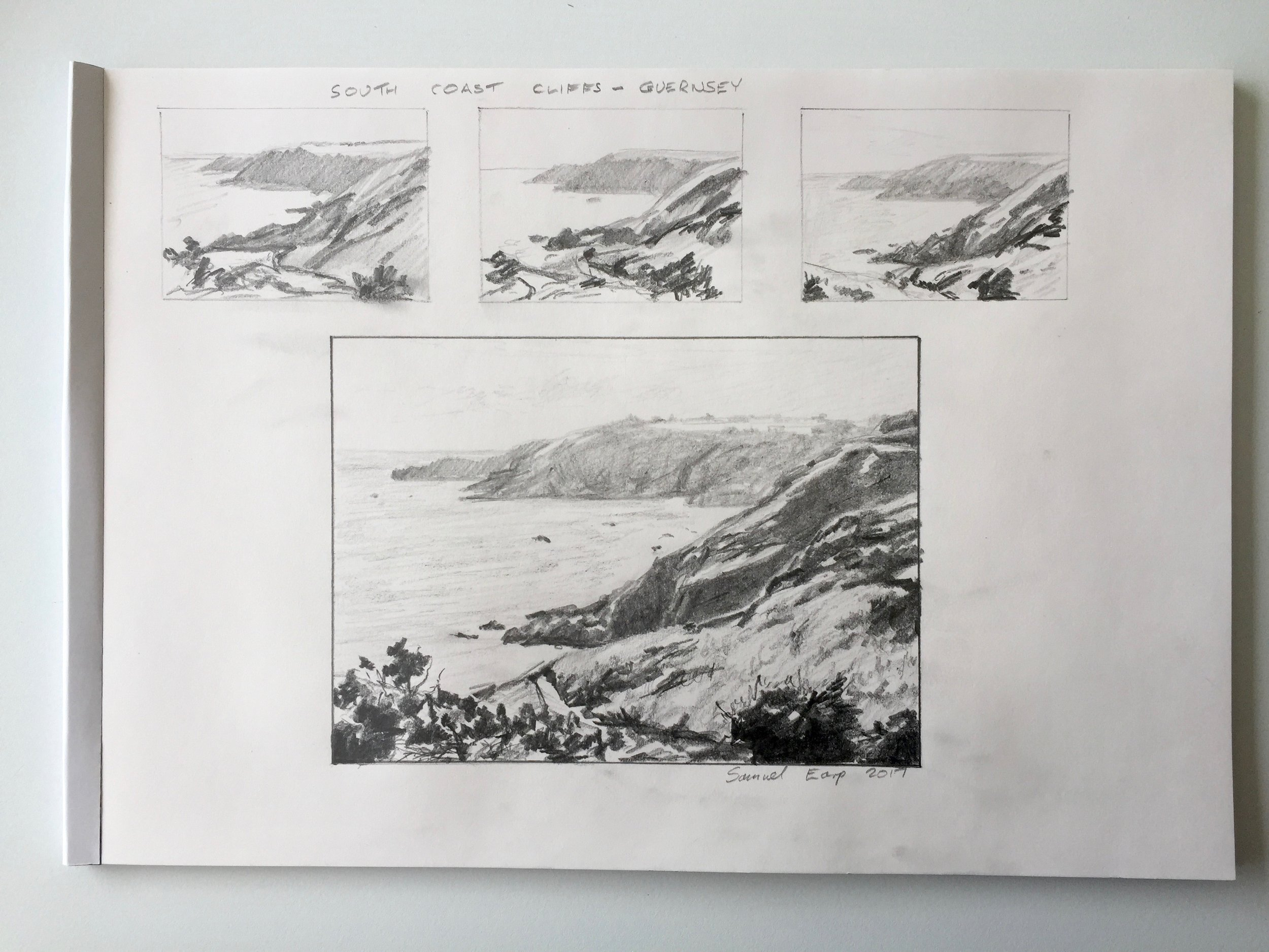 Pencil Sketch and thumbnail sketches of the south coast cliffs of Guernsey.
