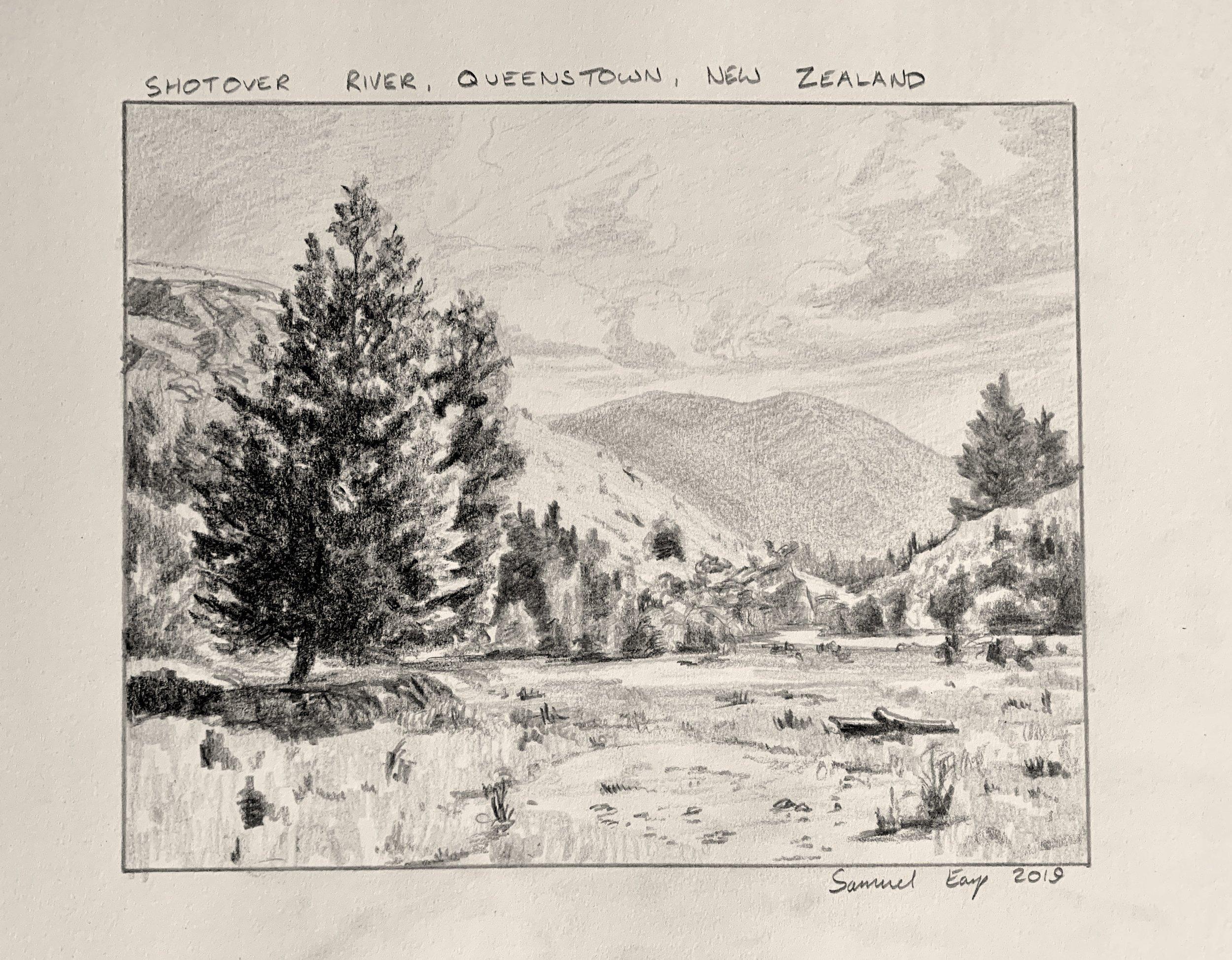 Shotover River - Queenstown - New Zealand - pencil drawing - Samuel Earp.jpeg