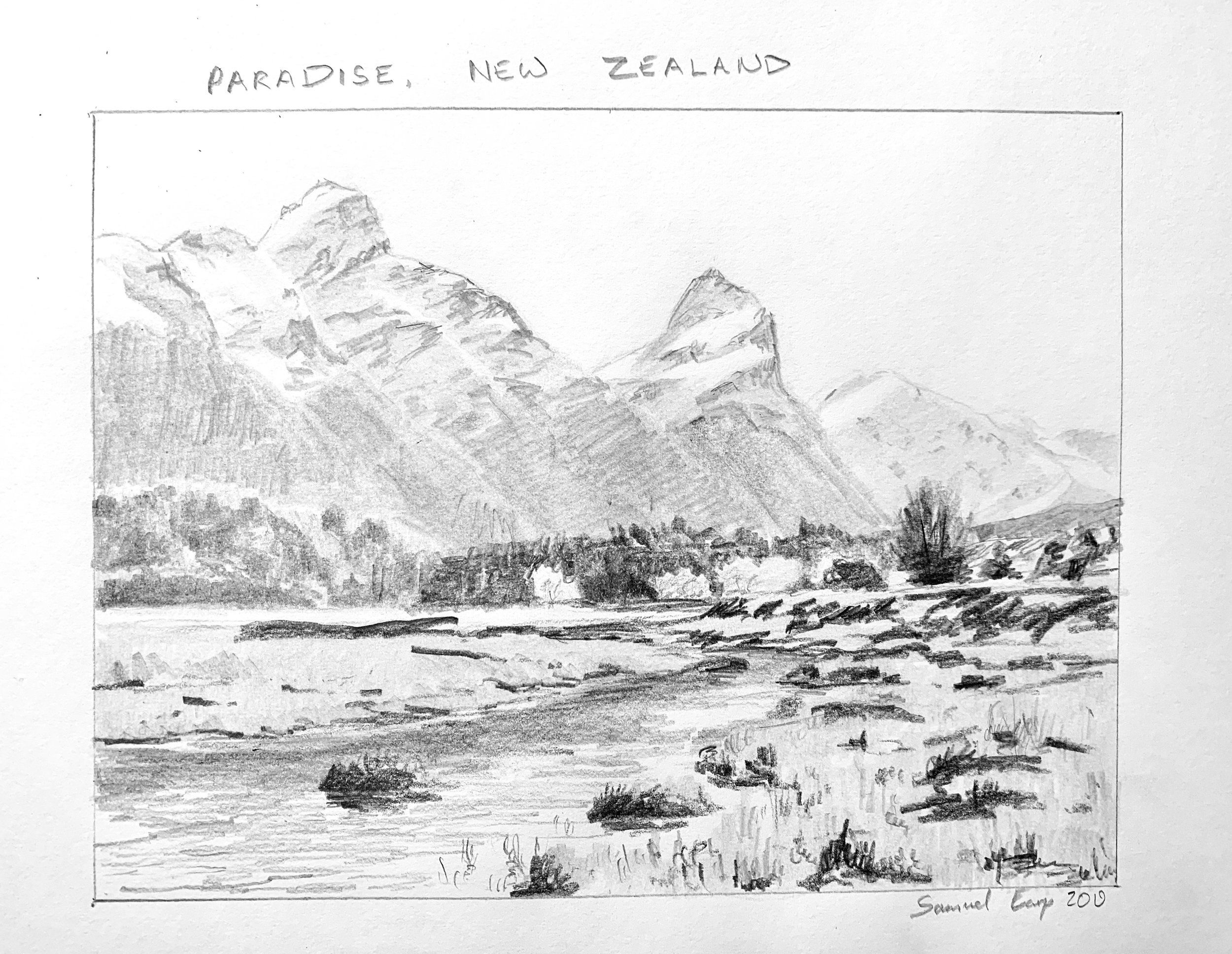 Paradise New Zealand - pencil drawing - Samuel Earp Artist.jpeg