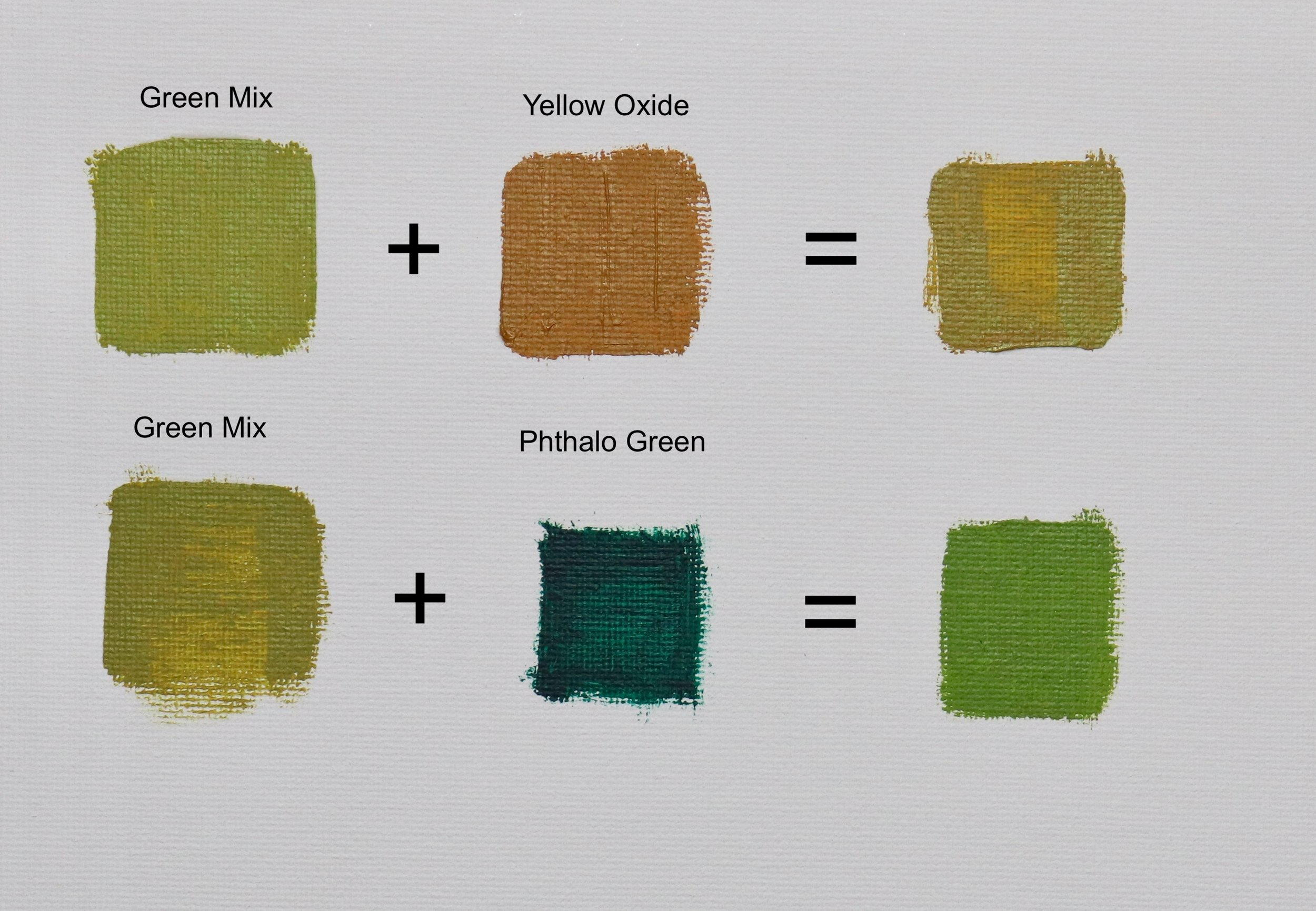 Here are two examples of adding additional colours to an existing grass green mix. Adding yellow oxide warms and softens the green. Adding phthalo green increases the saturation to make a rich green.