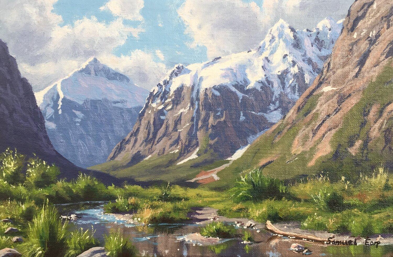 Mt Talbot and Mt Crosscut - small painting - Samuel Earp landscape artist.jpg