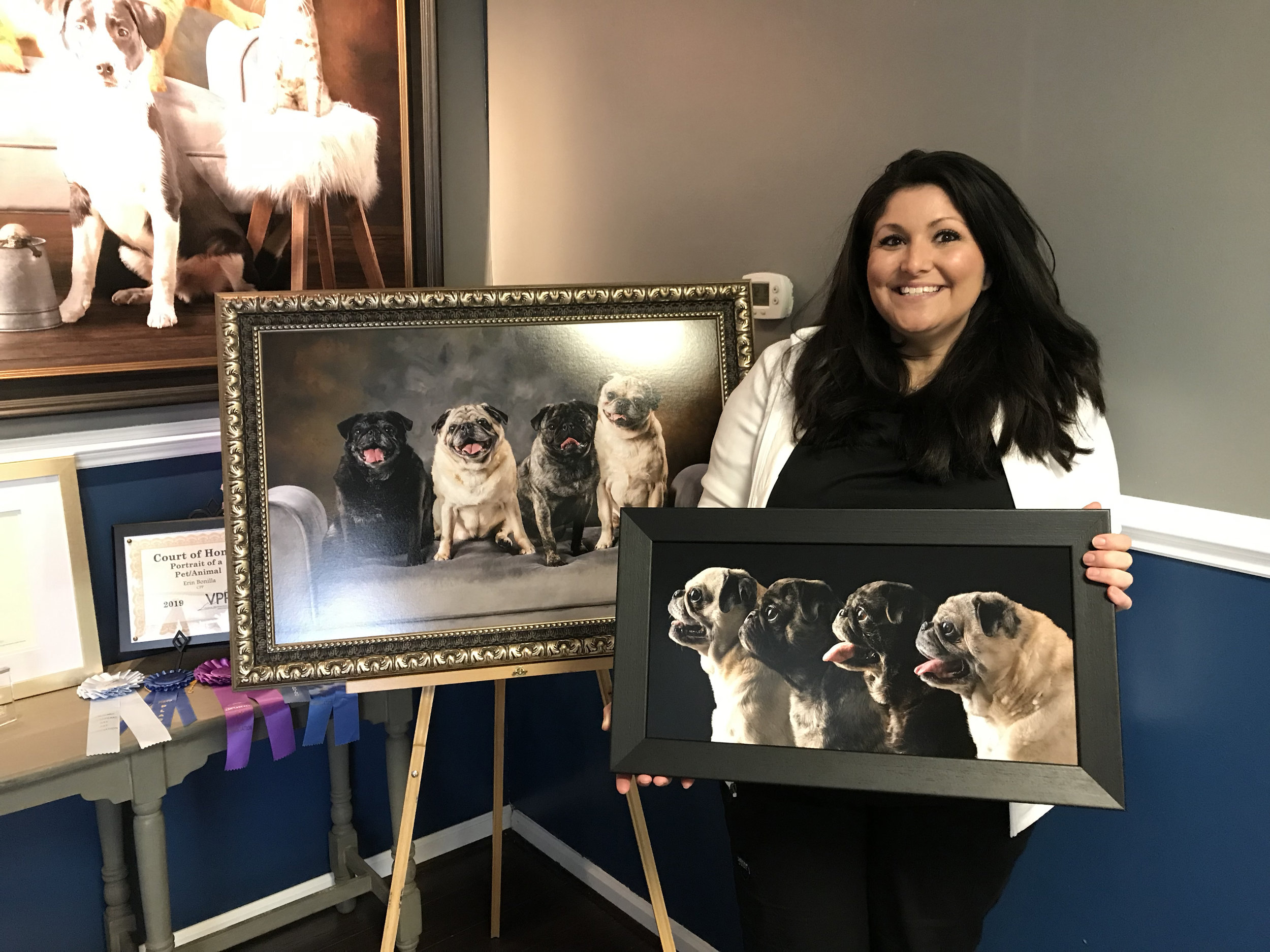 """""""Erin made working with her an enjoyable experience from start to finish! She really takes the time to get to know her clients which translates into her work. She was able to capture the personalities of my four Pugs in a timeless piece of artwork that far exceeded the high expectations that I already had! She took the time to help me decide what size art would fit best in the space I had and was even able to project the images up on the wall so that I could have an idea of what they were going to look like when hung(this was EXTREMELY helpful!). I cried happy tears at my appointment because her work literally took my breath away and instantly overwhelmed me with the love that I feel for my dogs. Choosing Bonilla Pet Photography to capture one of a kind portraits of your animals will be a decision you won't regret!"""" Lisa H"""