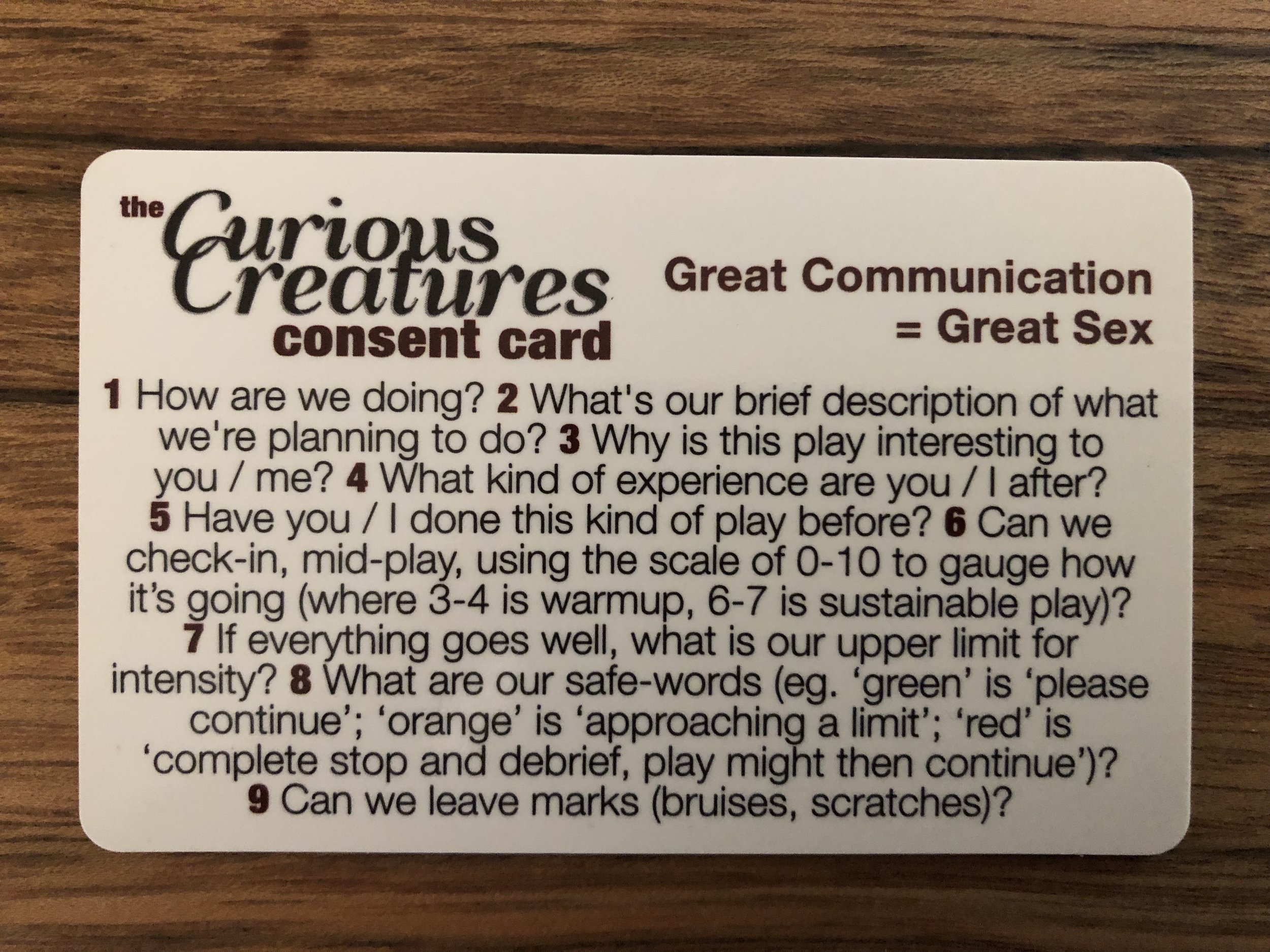 Curious Creatures Consent Card - side 1.