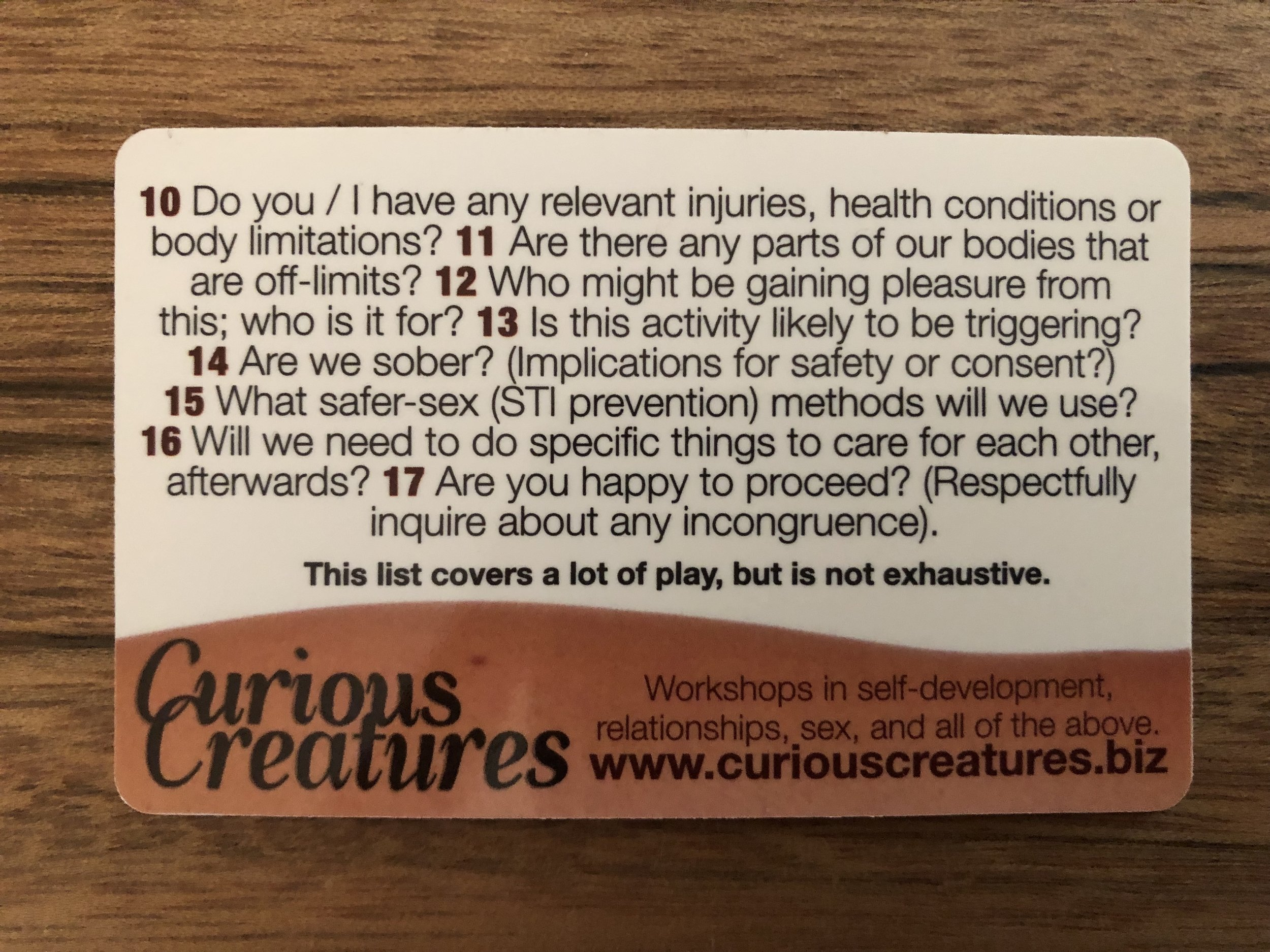 Curious Creatures Consent Card - side 2.