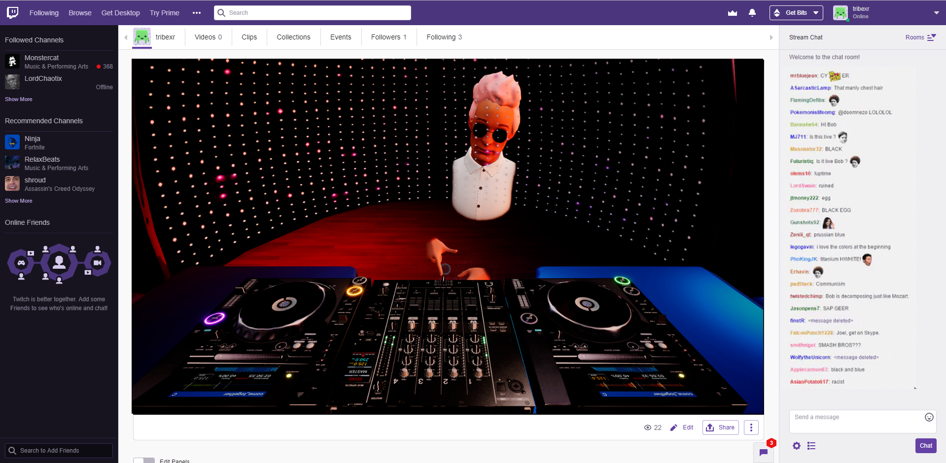 DJ Ozan live streaming a set on the TribeXR Twitch channel