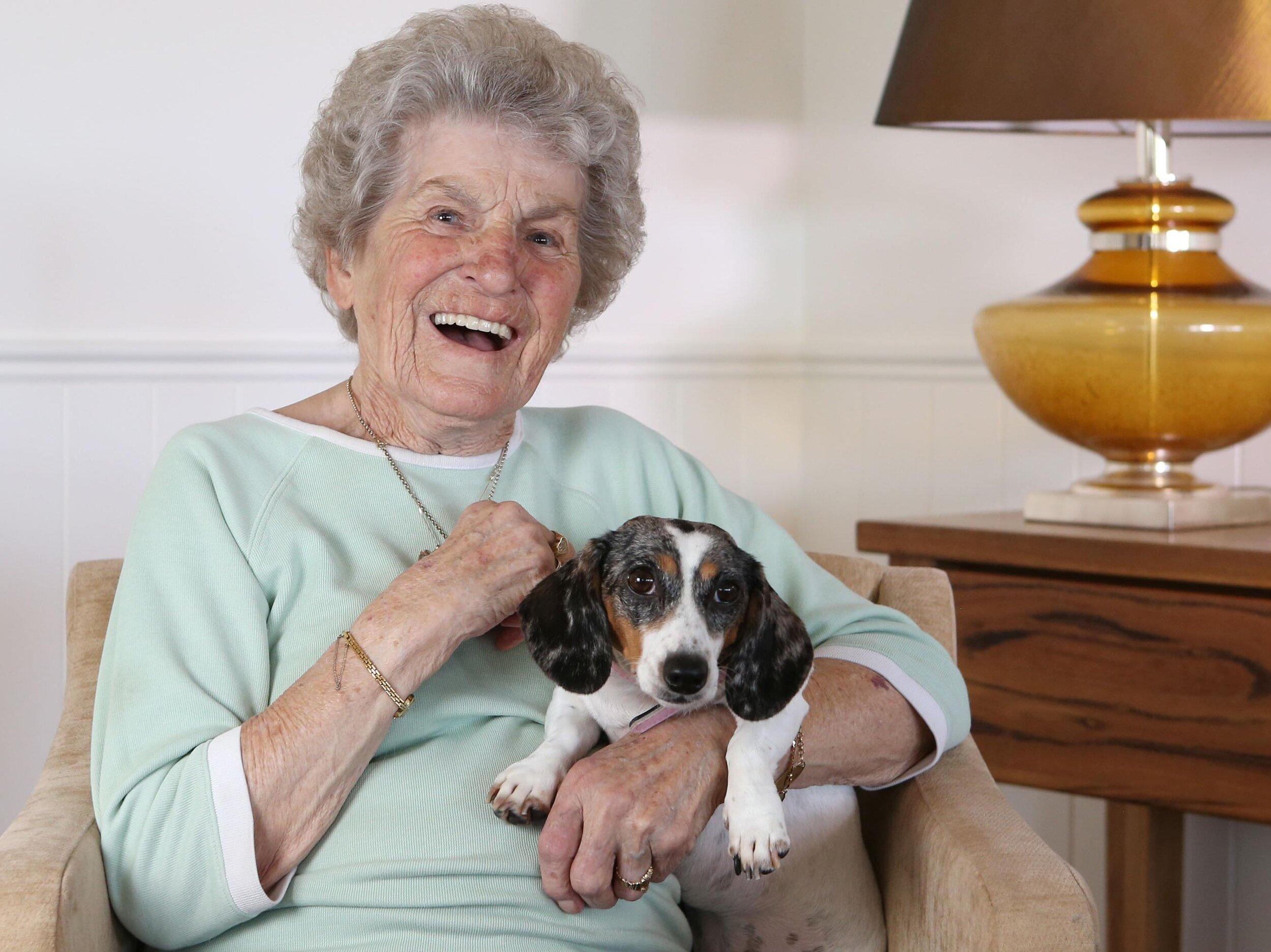 Elizabeth Elliott with dachshund Leia Ammon. Picture: Justin Benson-Cooper