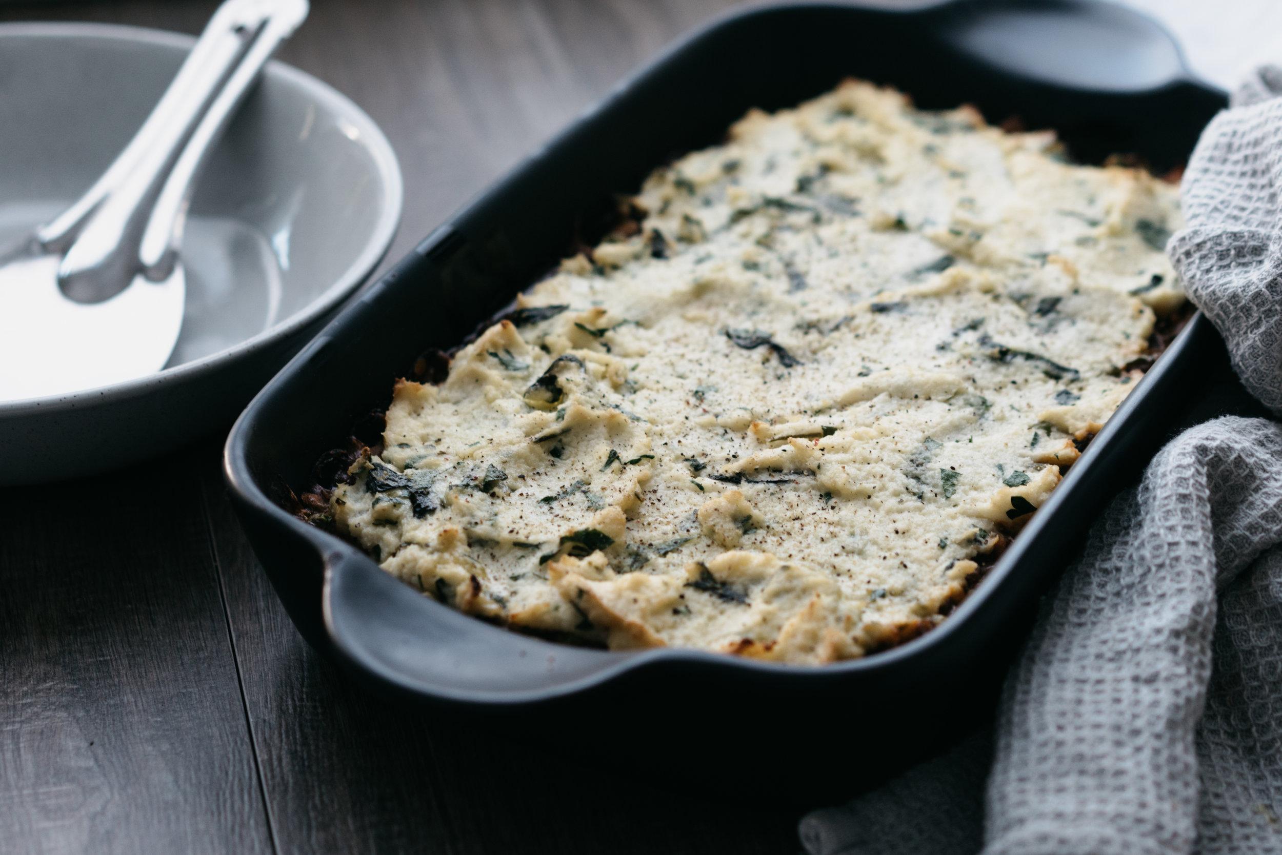 Vegan Shepherd's Pie with Herby Cauliflower Mash