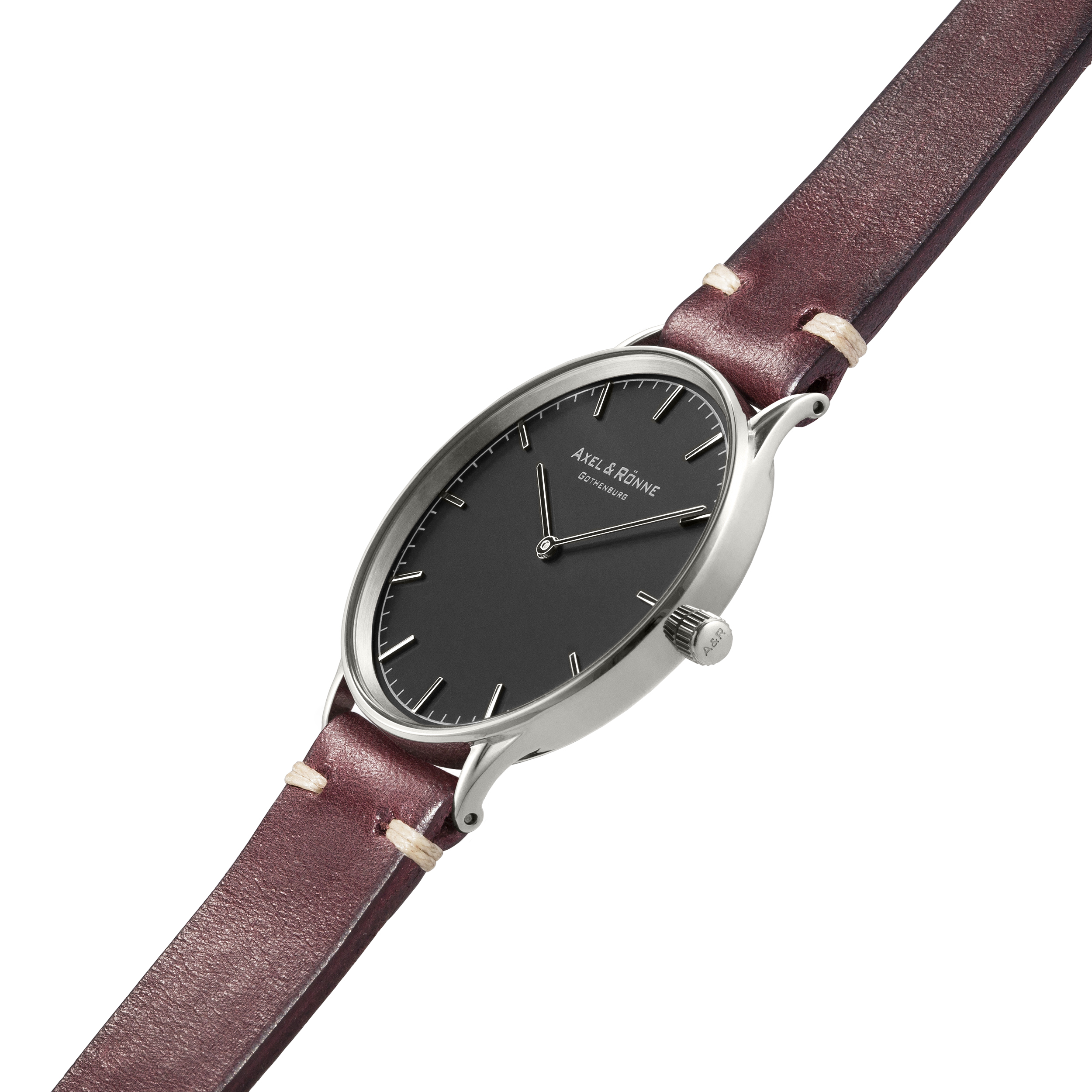 Polished Steel/ Burgundy Italian Leather Straps.  View Item here.