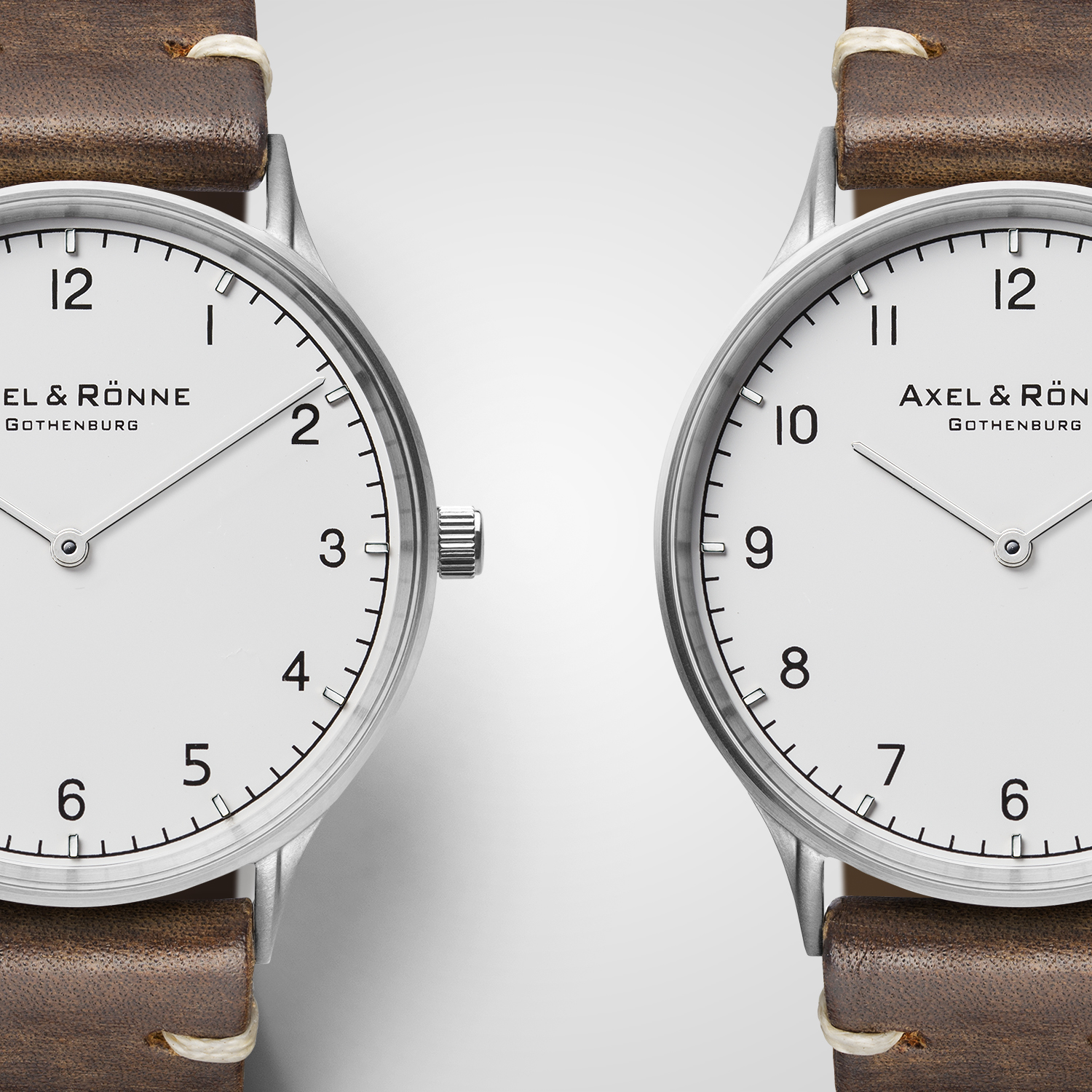 Classic brushed steel and brown leather straps