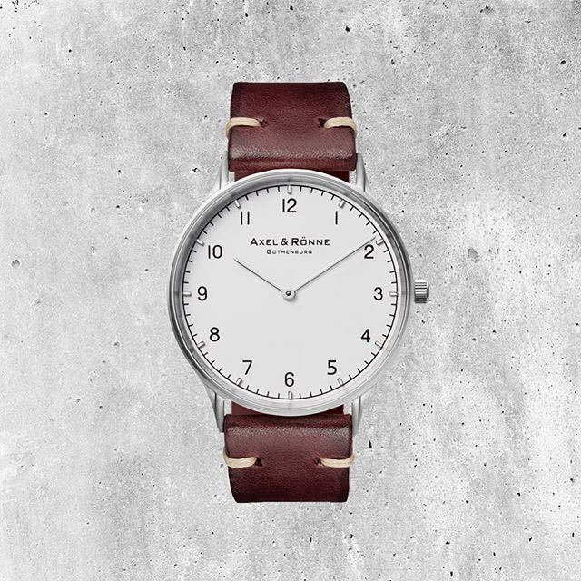 Brushed Steel / Burgundy Watch handmade vegetable-tanned Italian leather and Swiss quartz movement. It is a perfect balance between classic and curious! ⠀ #axelandronne #authenticity #wotd