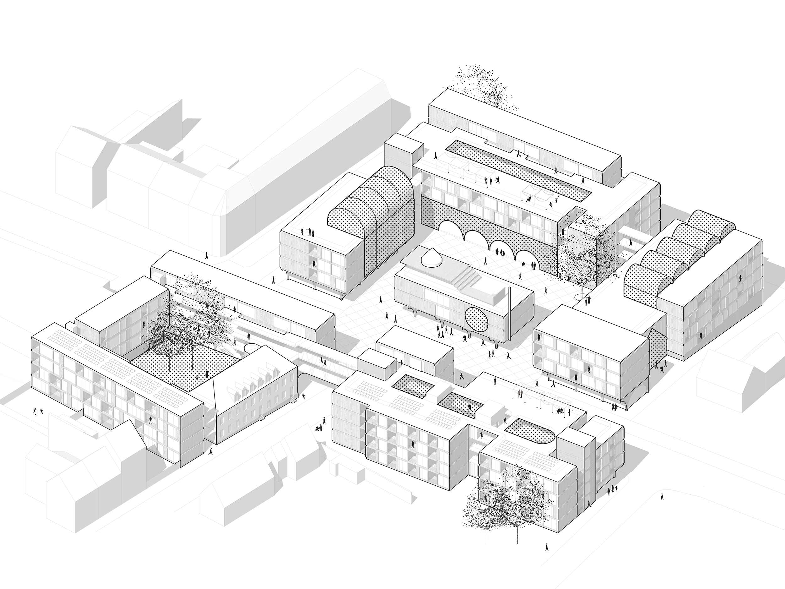 Collective Housing. Projective Habitat Competition. Axonometry architecture