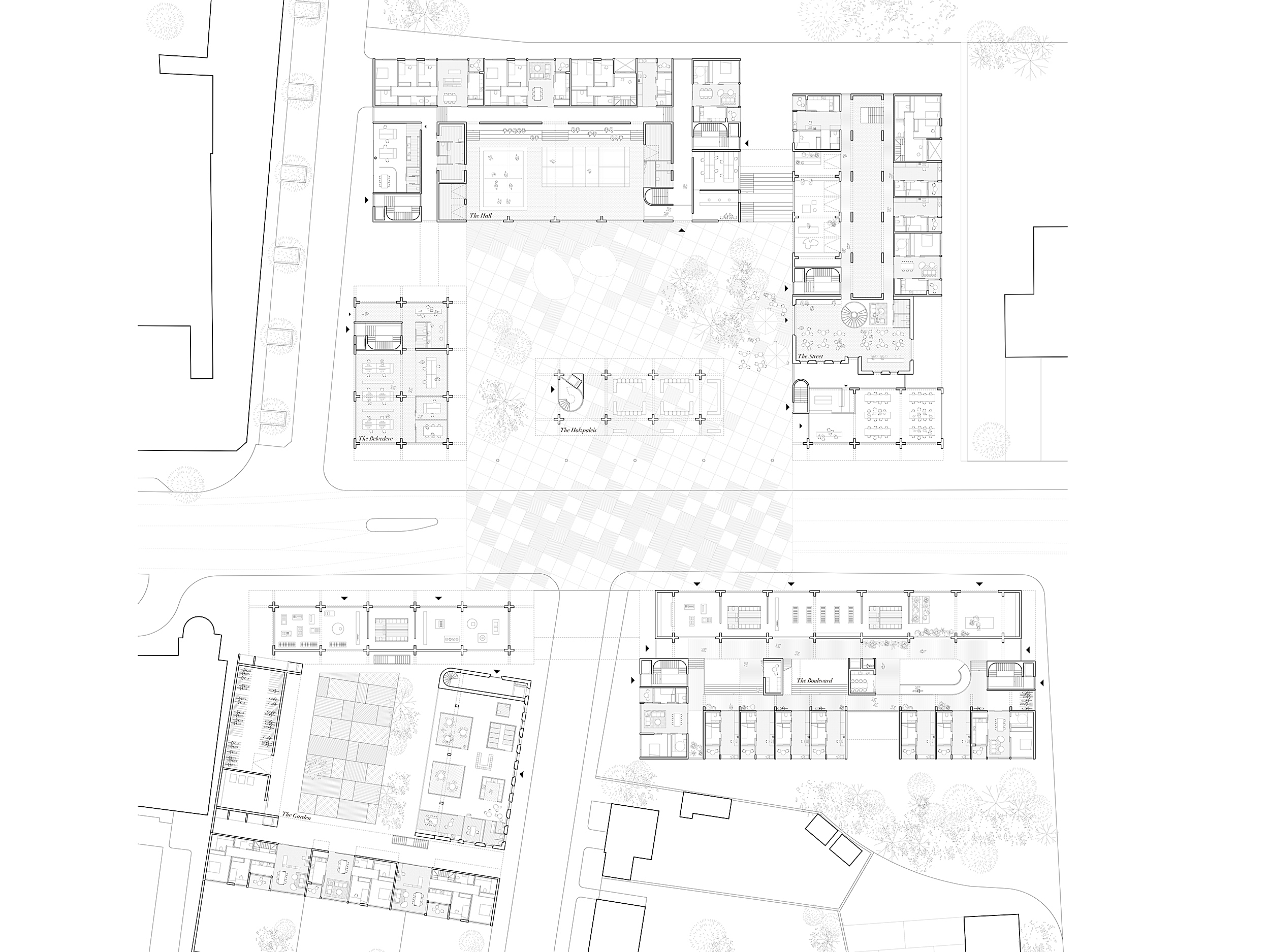 Collective Housing. Projective Habitat Competition. Floor plan architecture