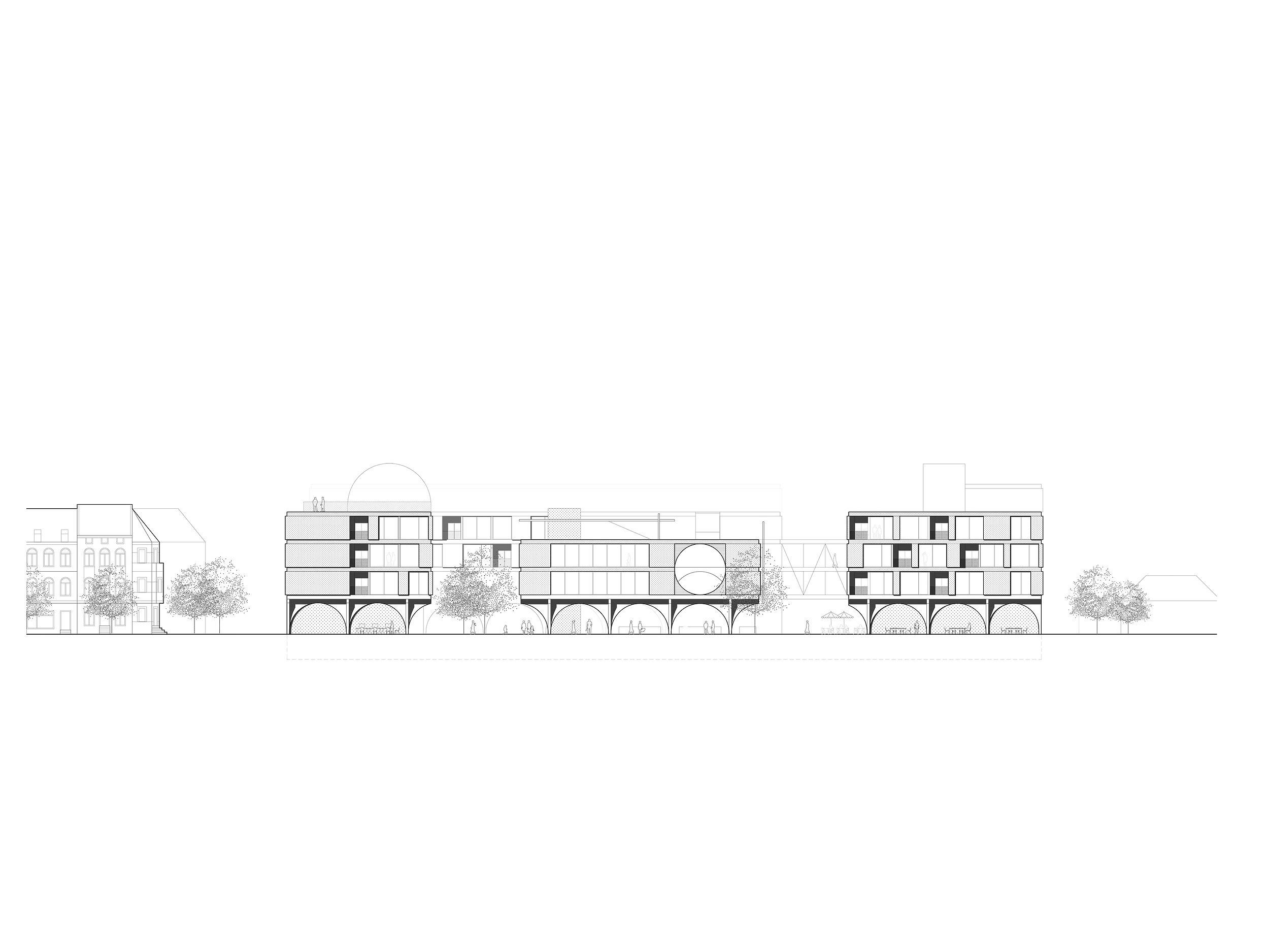 Collective Housing. Projective Habitat Competition. Elevation architecture drawing