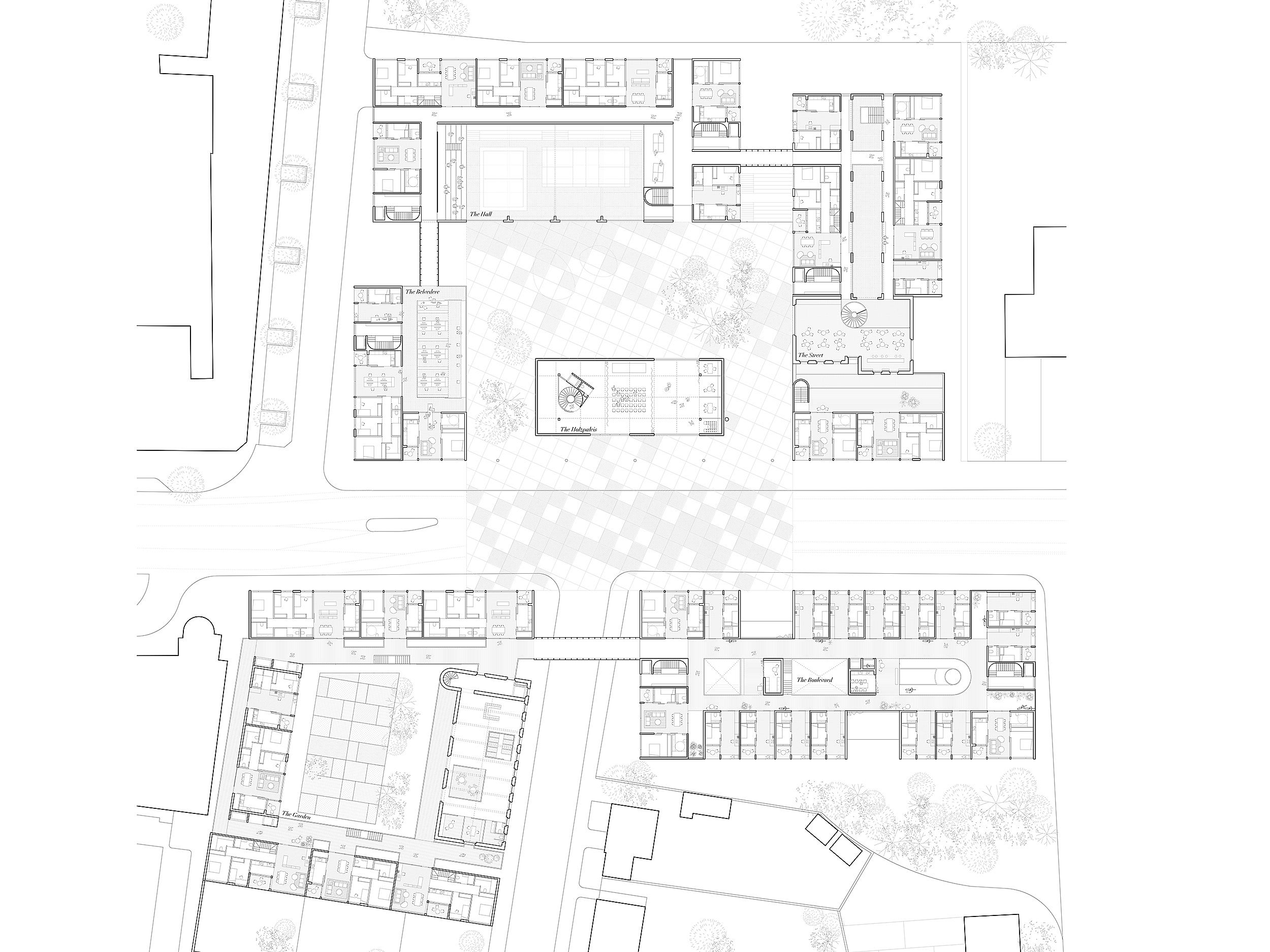 Collective Housing. Projective Habitat Competition. Floor plan 2 architecture