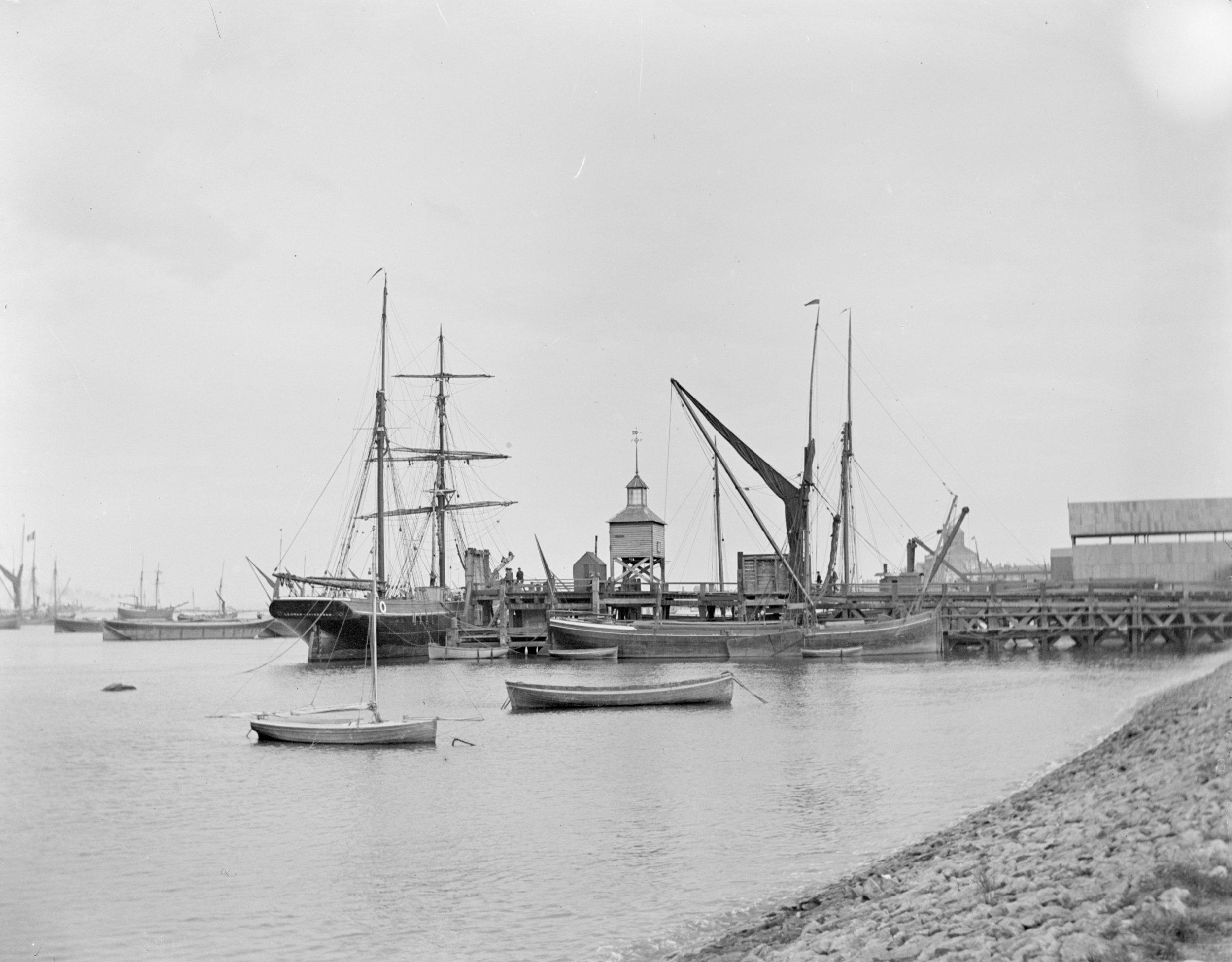 Ship and Barge Moored alongside Erith Ballast Wharf (1906)