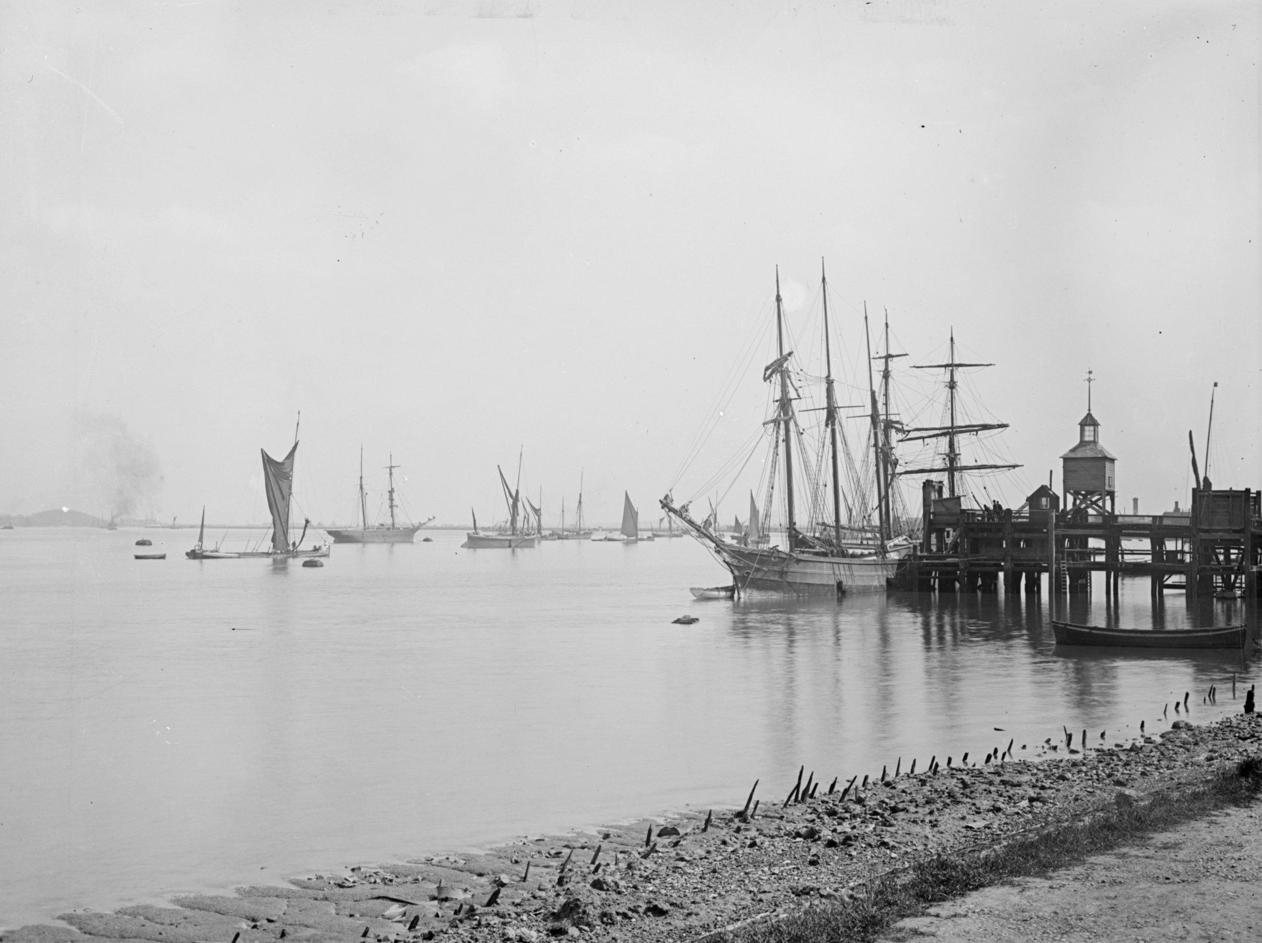 Sailing Ship Moored by Erith Ballast Wharf (1906)
