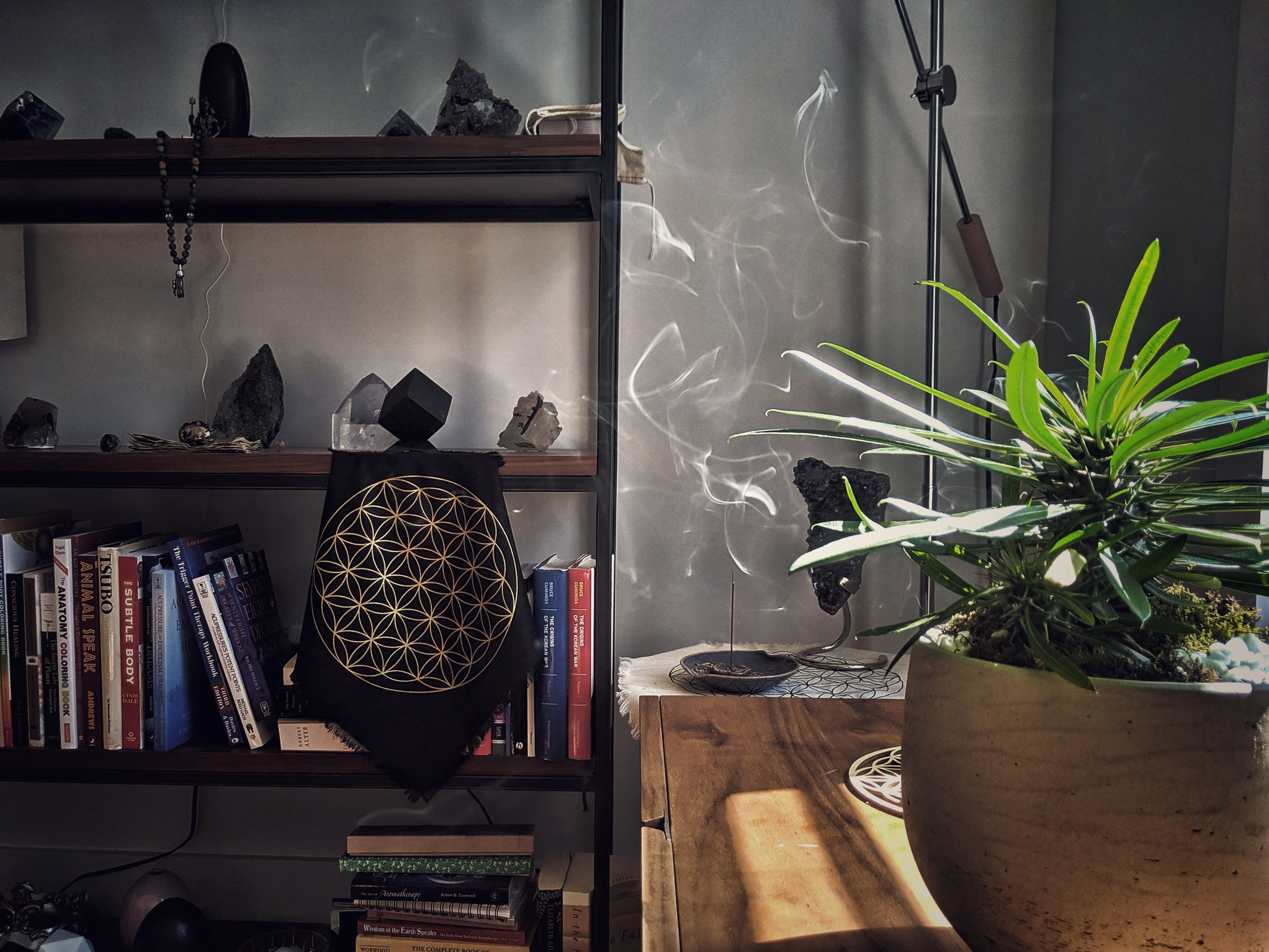 incense burning in the morning