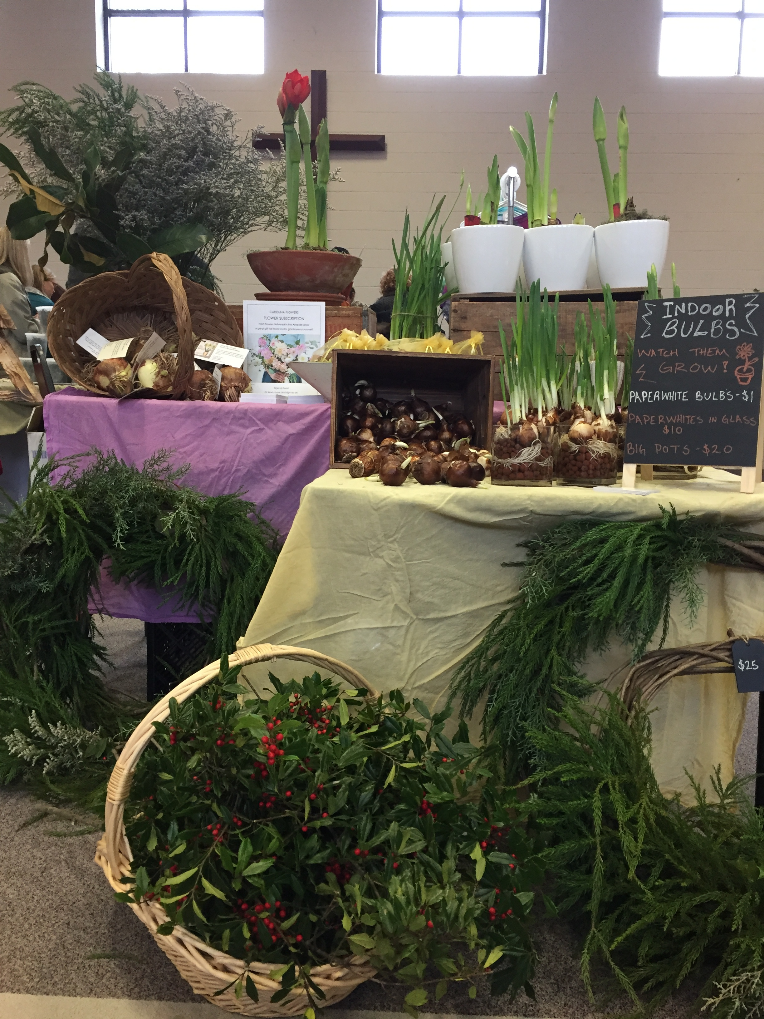 "One of my markets stands from this holiday season. Note my prominent sign: ""Indoor Bulbs! Watch them Grow!"" And my cascading display that makes people want to touch bulbs."