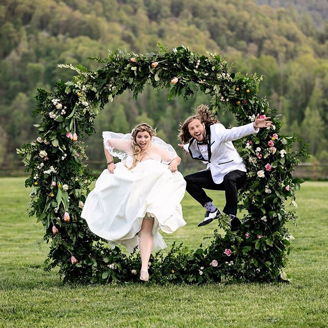 Feeling not quite ready for the week? Just channel these amazing people! We've all got to jump through some hoops in this life, so you might as well do it with attitude and flair. Thank you, Brittany and Will, for making me smile, and for using this floral creation in the beat way possible! - Are you interested in the giant wreath? There's a little post about it on my blog at the moment. It's so fun to install. My process for set up is super thoughtful, and the way we do it makes it a bit more affordable than your typical large  statement piece. So it's cool to be able to offer something that's more accessible.