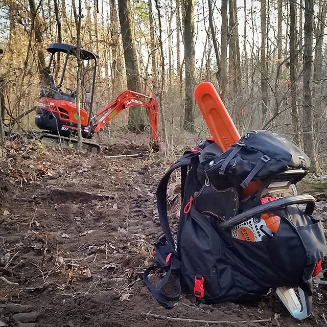 Out in the woods at Southside park in #atl building some new urban singletrack with @mtbatlanta  #trailbuilding