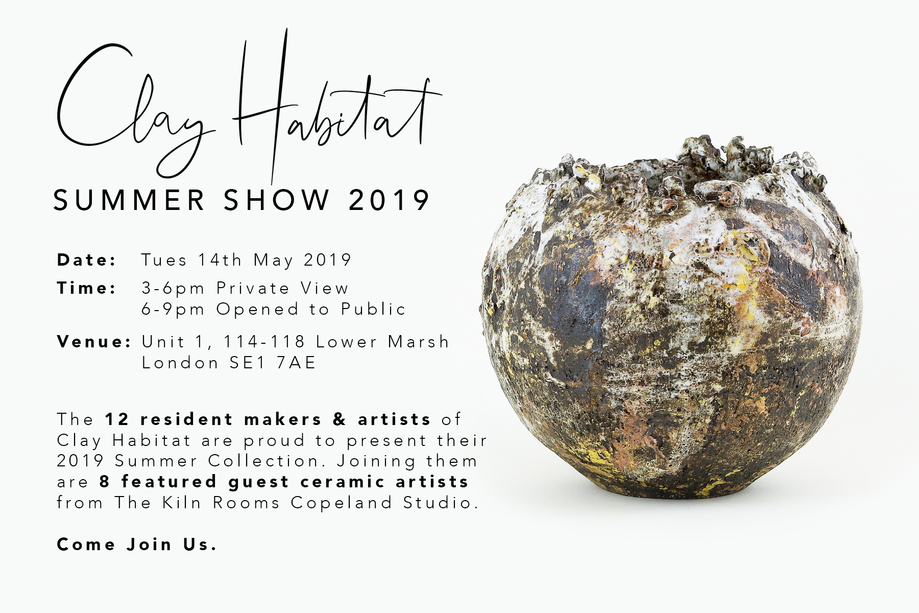 Clay Habitat Summer Show 14th-19th May - I'll be showing a range of tableware and vases at the Clay Habitat Summer show as one of their invited guest artists. It's a fabulous pop up showacse for emerging ceramic artists, so don't miss it.