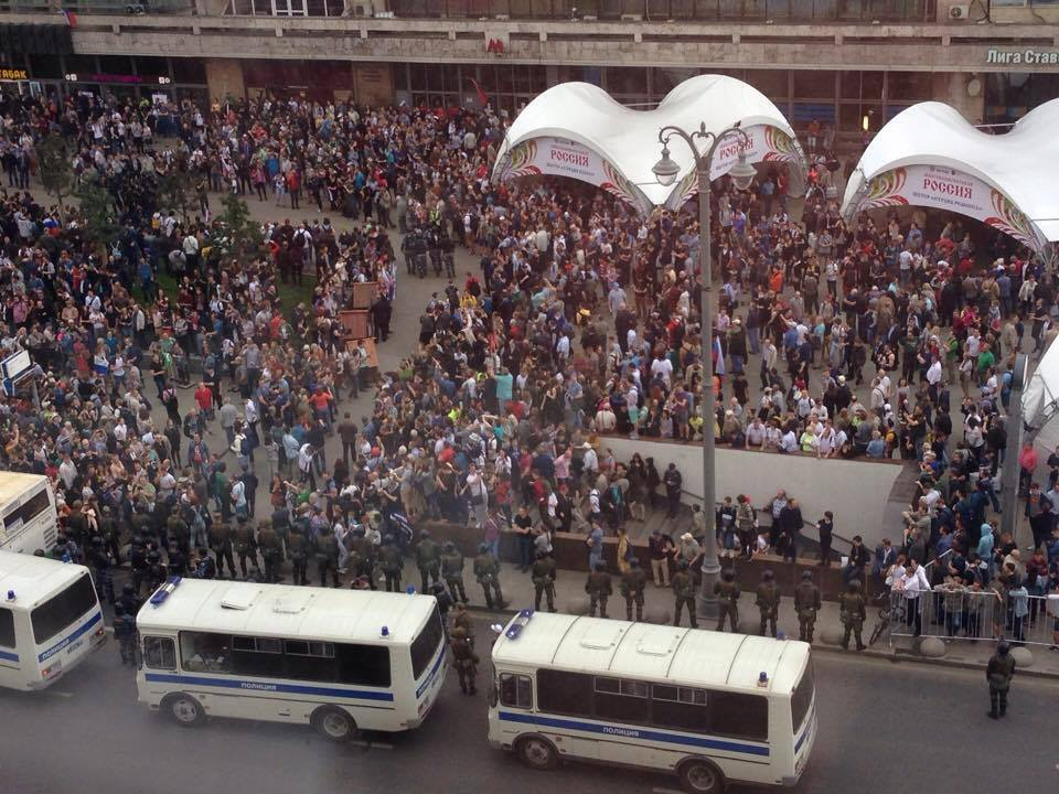 Protest against Putin and political corruption on Tverskaya Street