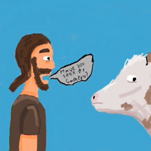 A casual chat with a cow.