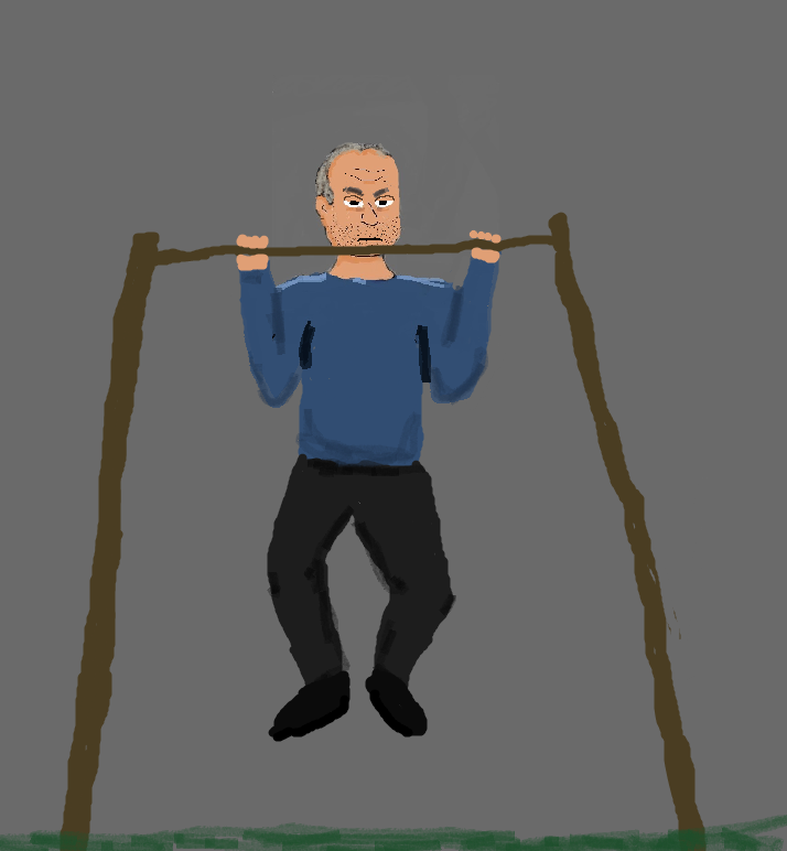 Old man doing pull ups like a champ!