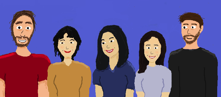 Characters left to right: Me, Tongyu (Helen), Lulu (Cathy), Altynay, Etienne