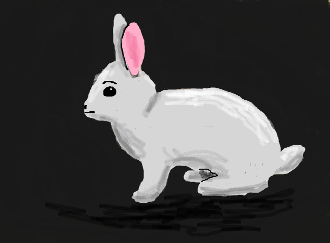 Depiction of the rabbit. Not sure if it had eyebrows, but it looks better this way.