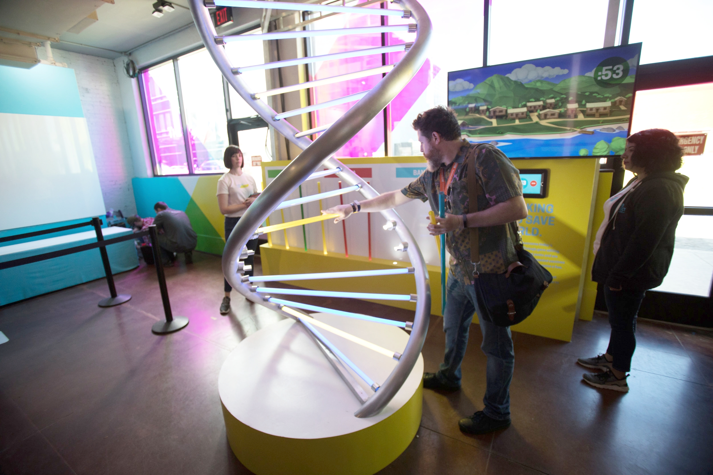 Exhibit 5: A giant  interactive DNA helix  allowed visitors to fight diseases and farm deserts.