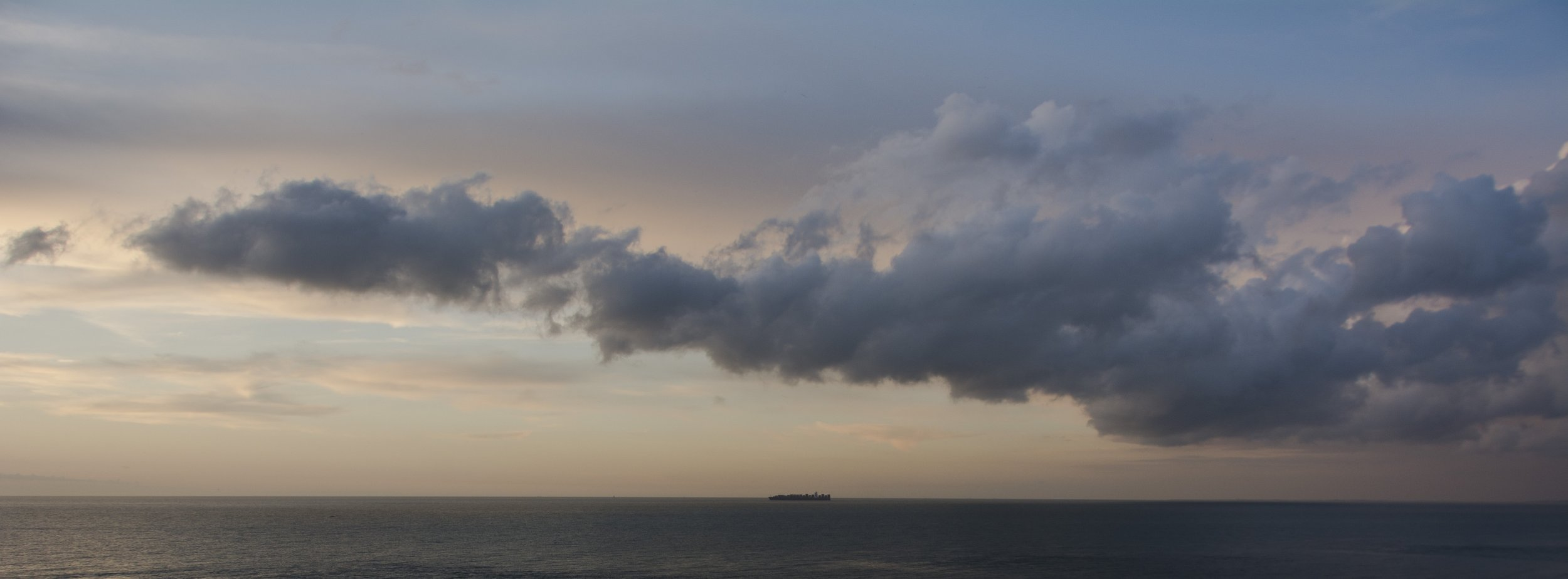 Container under sunset cloud