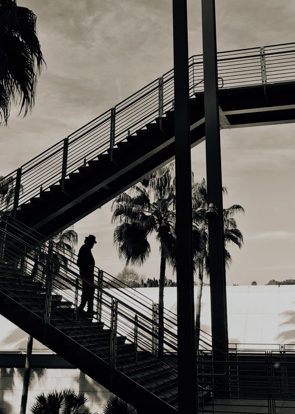 Down the LACMA stairs
